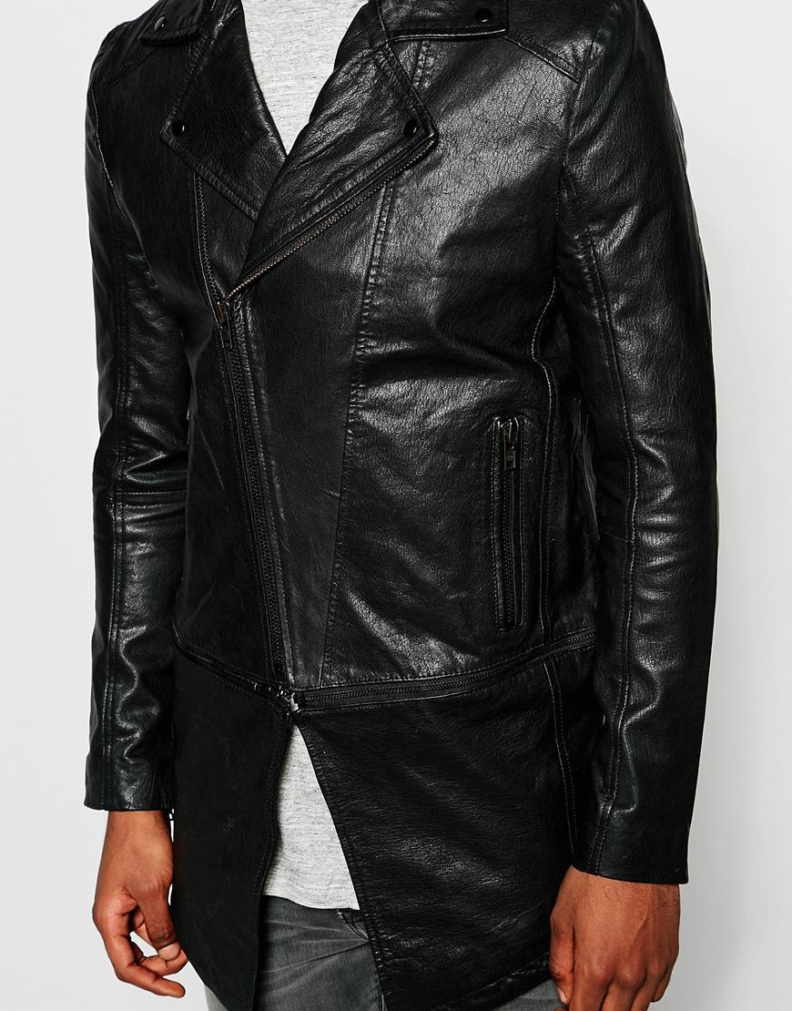 Asos Leather Jacket In Longline Black For Men Lyst Jaket Kulit Pria David