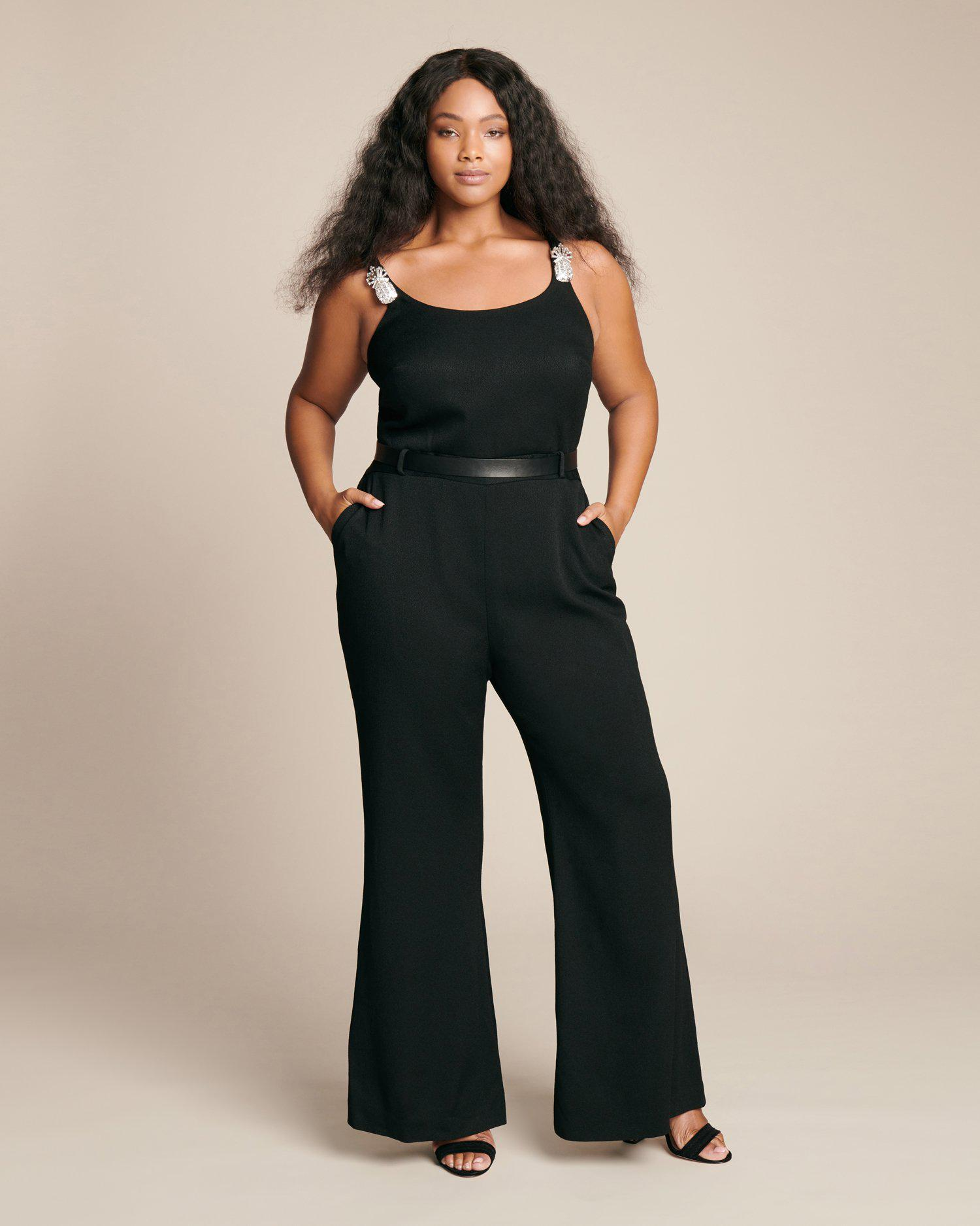8e3982b272f Lyst - Brandon Maxwell Pineapple Crystal Crepe Jumpsuit in Black