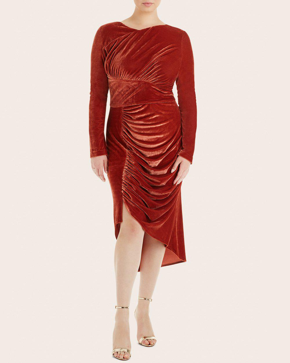 7b987338fccb7 Christian Siriano Ruched Velvet Dress in Red - Lyst
