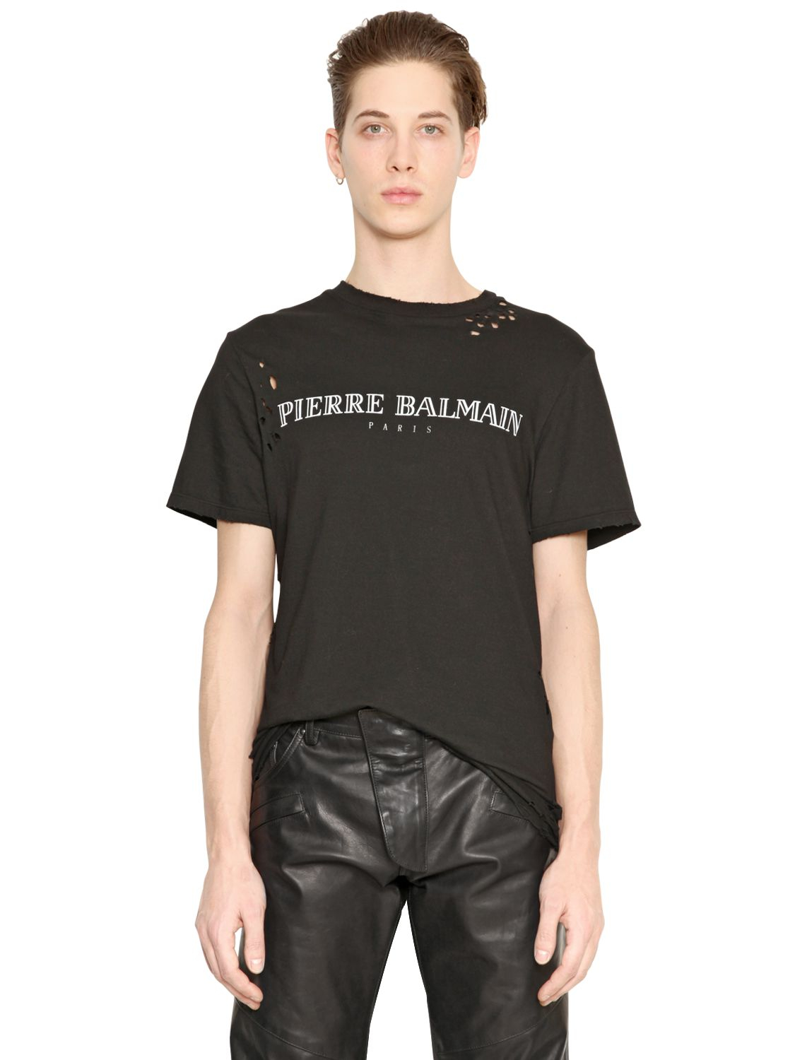 balmain logo printed cotton jersey t shirt in black for men lyst. Black Bedroom Furniture Sets. Home Design Ideas