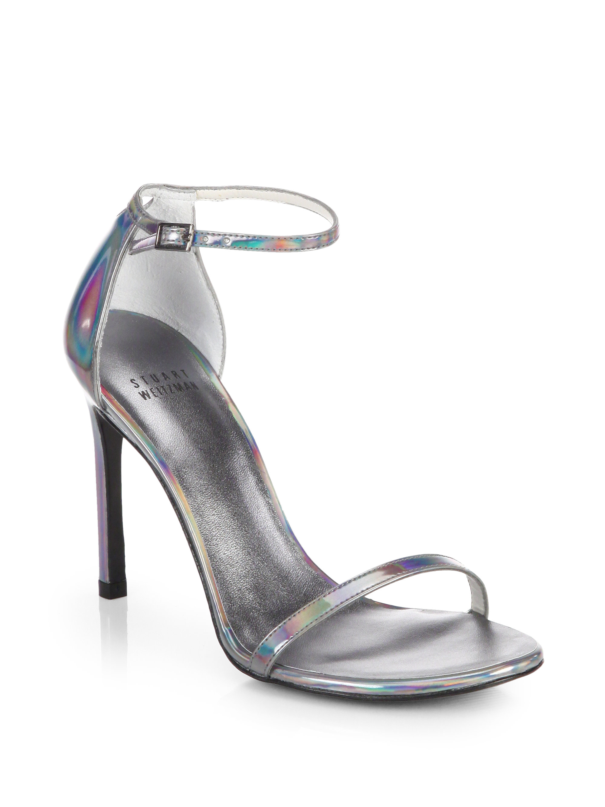 fashion Style cheap price discount pick a best Stuart Weitzman Metallic Patent Leather Sandals discount shopping online iQa40