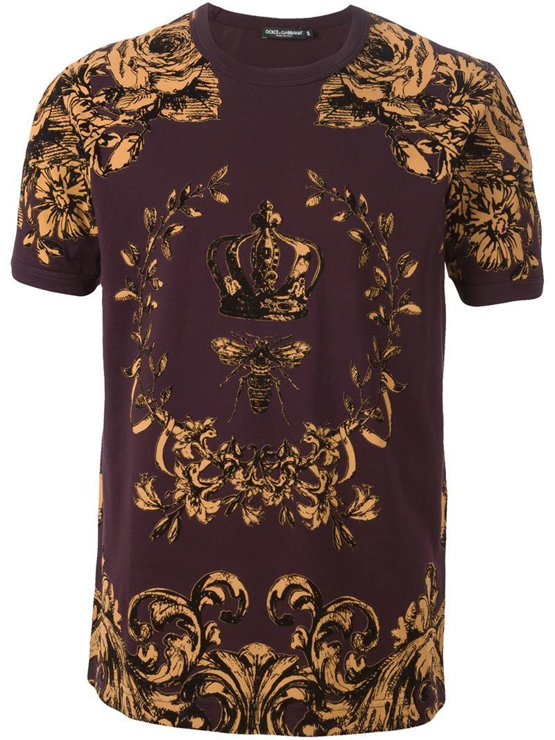 lyst dolce gabbana crown bee print t shirt in purple. Black Bedroom Furniture Sets. Home Design Ideas