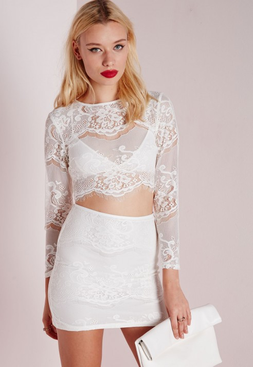 5ac05af49c517 Lyst - Missguided Lace Long Sleeve Scalloped Crop Top White in White