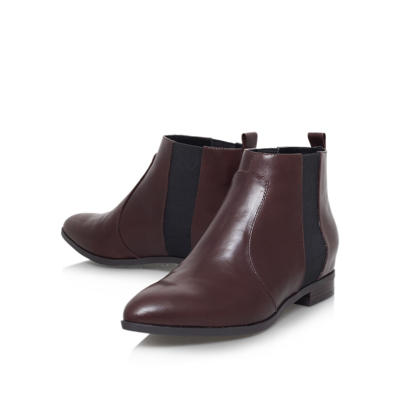 Nine west Orangesky Flat Slip On Ankle Boots in Brown | Lyst