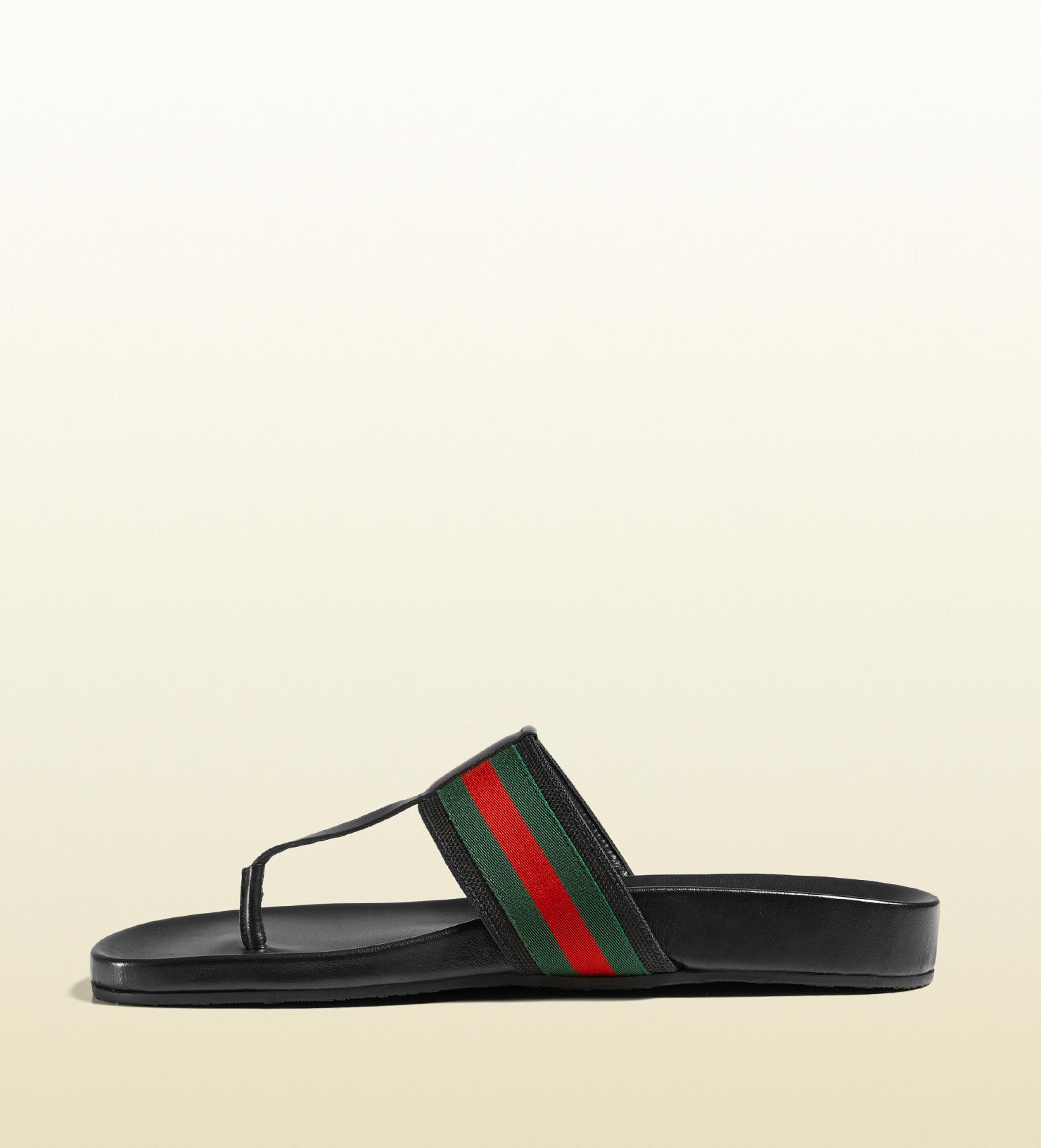 a0e6419e2aa3 Lyst - Gucci Web Strap Sandal in Black for Men