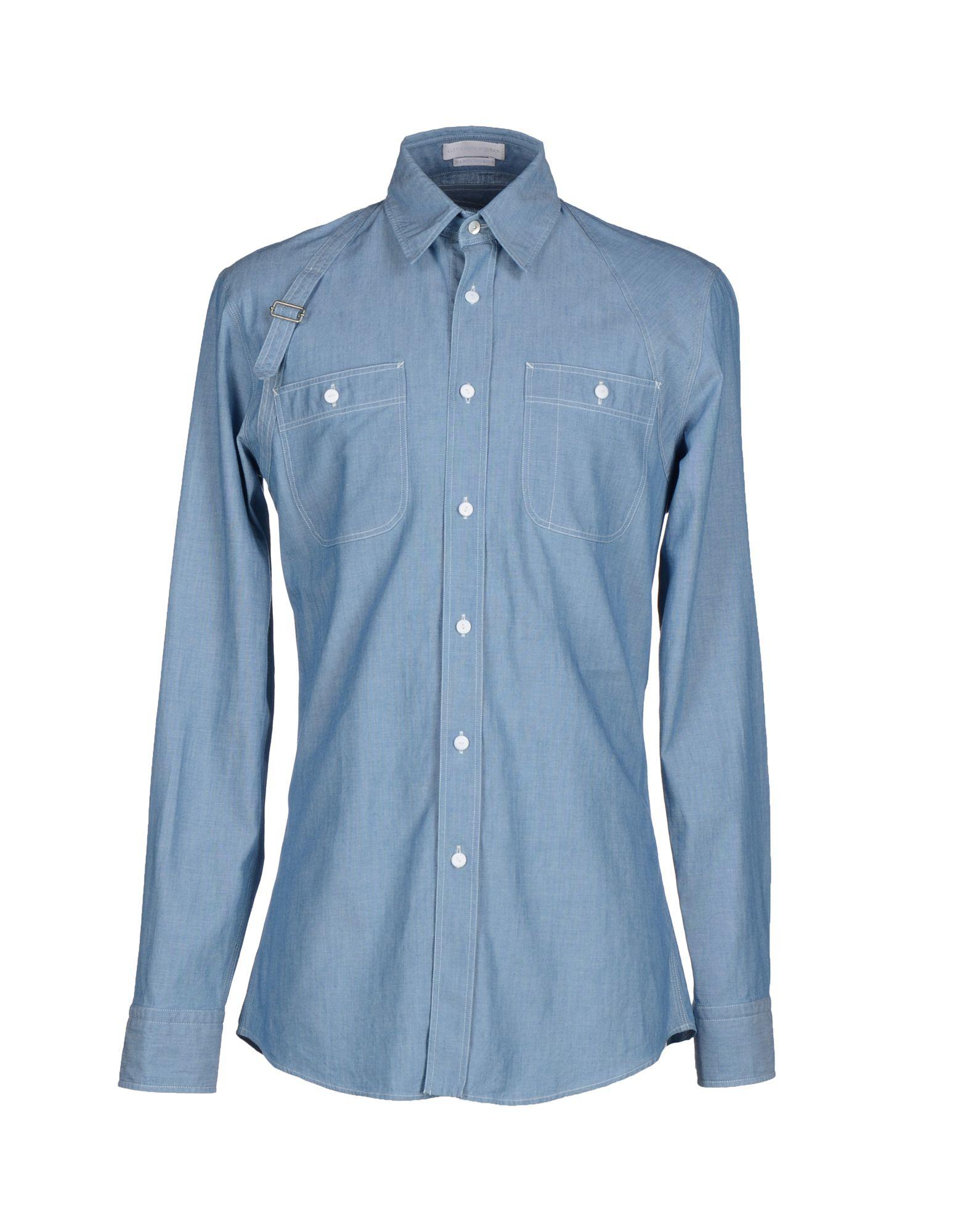 Alexander mcqueen shirt in blue for men lyst for Alexander mcqueen shirt men