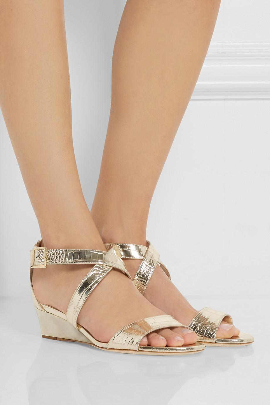 cdbafc531c7 Lyst - Jimmy Choo Chiara Croc-Effect Metallic Leather Wedge Sandals ...