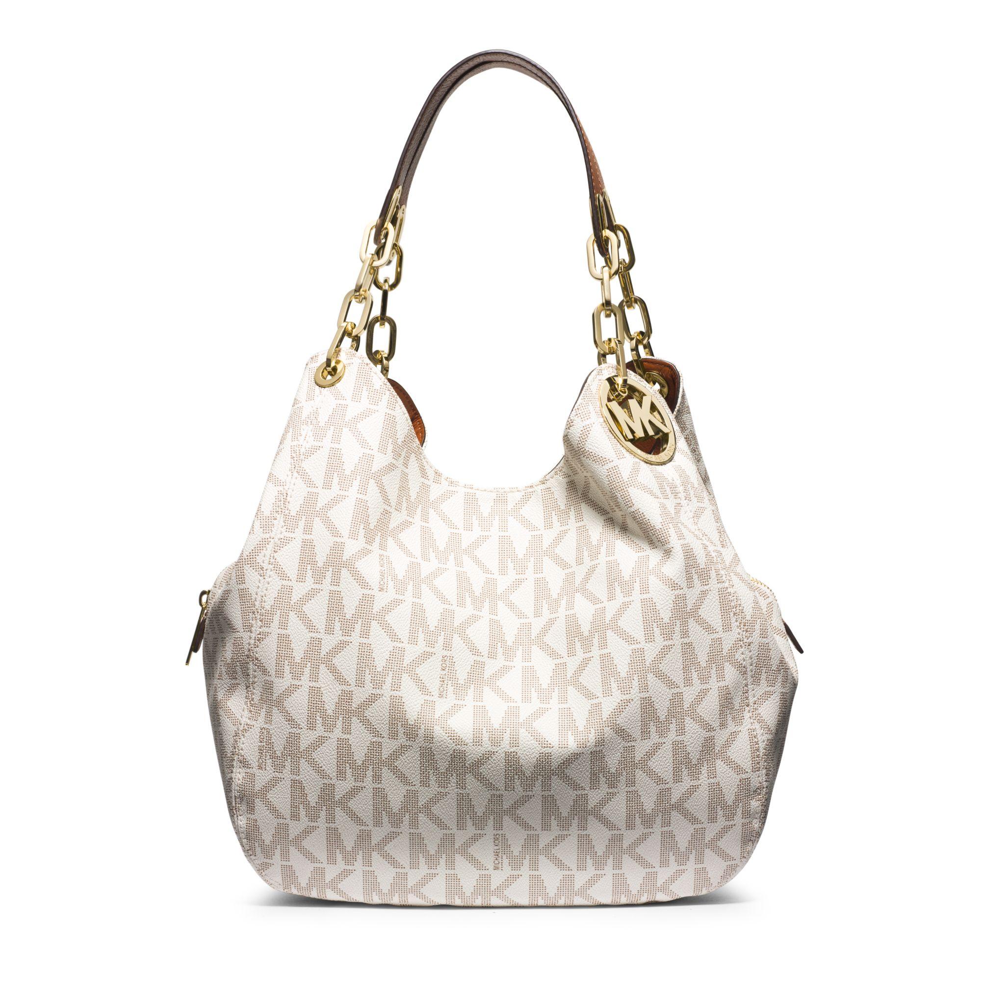 181cfcb6ff517 Lyst - Michael Kors Fulton Large Logo Shoulder Bag in White