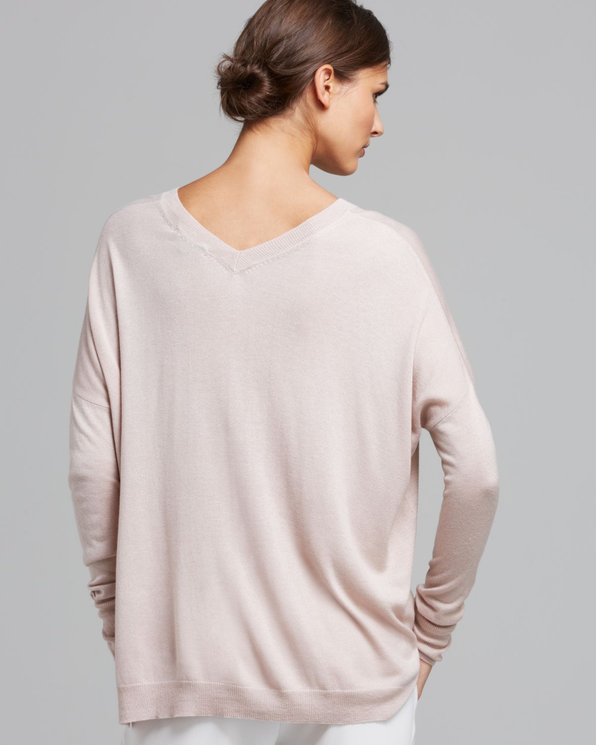 Vince Sweater Double V Silk Cashmere in Pink | Lyst