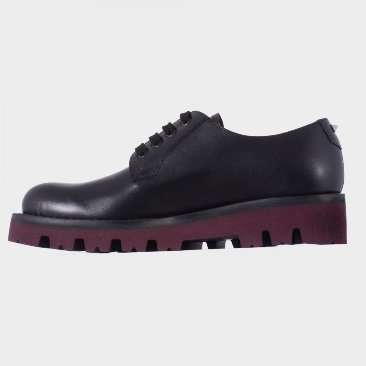 valentino black leather derby shoes in black for lyst