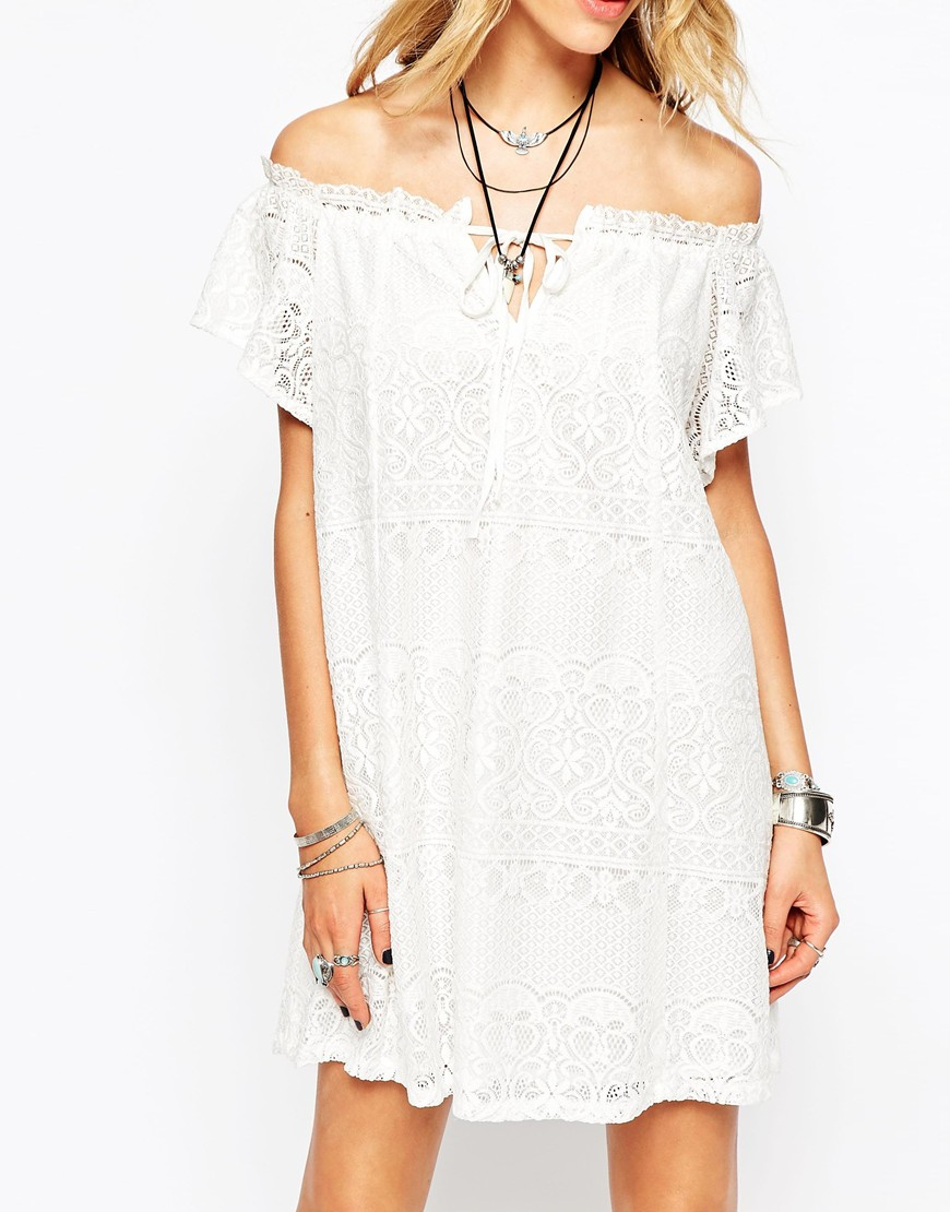 Lyst - Missguided Lace Off The Shoulder Swing Dress In White