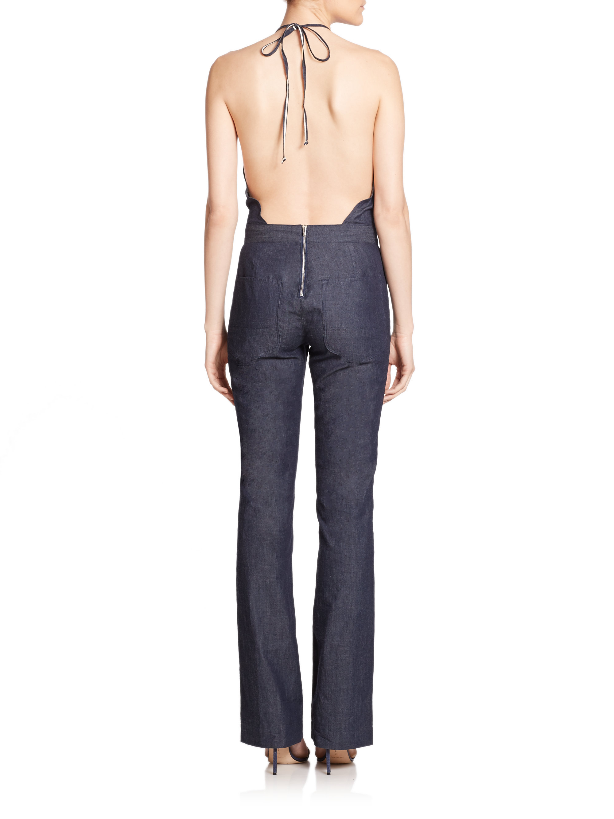 3x1 Denim Halter Jumpsuit in Black | Lyst