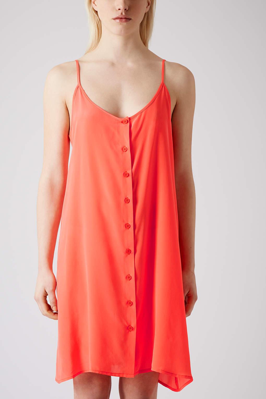 8b1ddefb908 TOPSHOP Button Silk Slip Dress By Boutique in Orange - Lyst