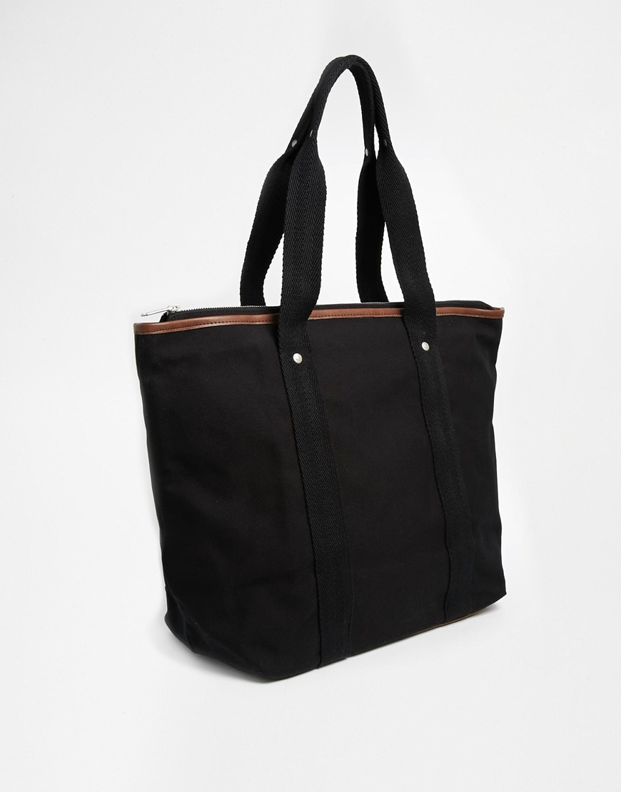 Fred perry Canvas Tote Bag With Zip Top in Black for Men | Lyst