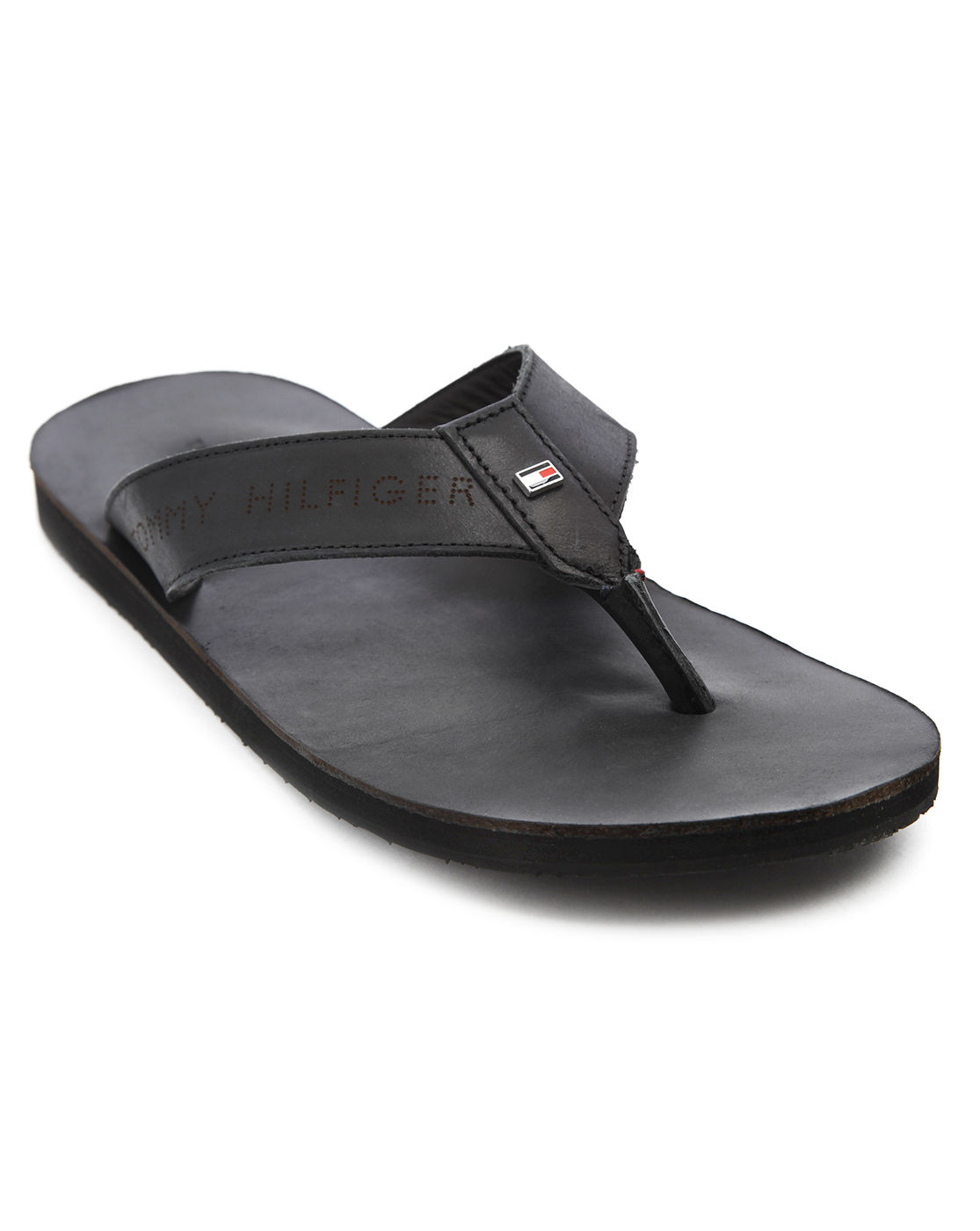tommy hilfiger timsbury black leather flipflops in black. Black Bedroom Furniture Sets. Home Design Ideas