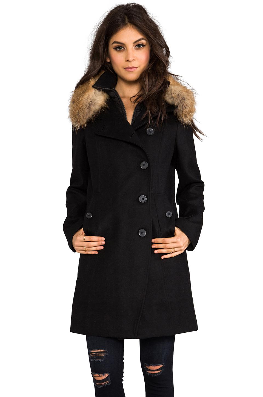 Soia & kyo Reiko Removable Fur Hood Wool Coat in Black in Black   Lyst