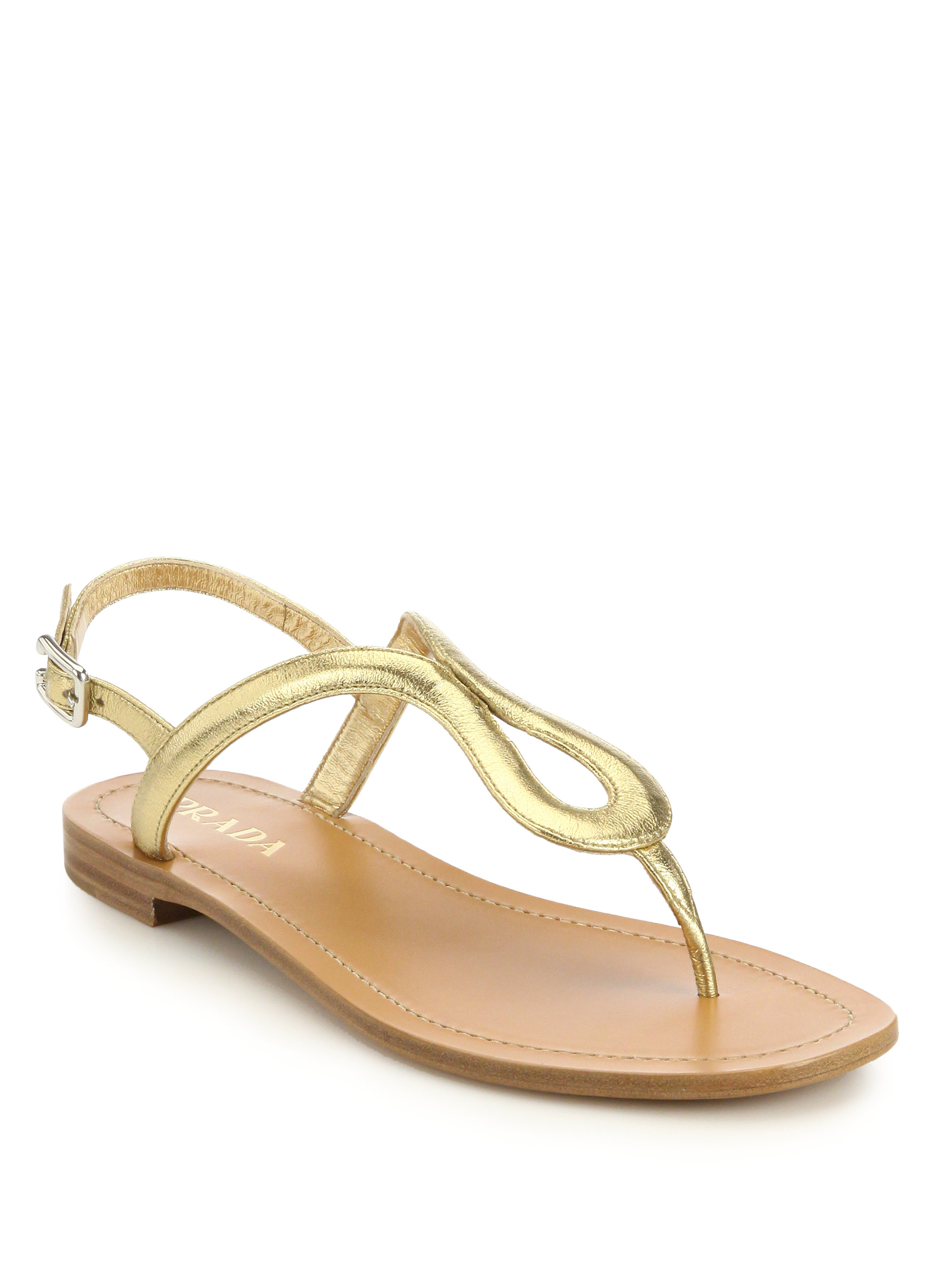 a88f3fad24cb Lyst - Prada Metallic Leather Thong Sandals in Metallic