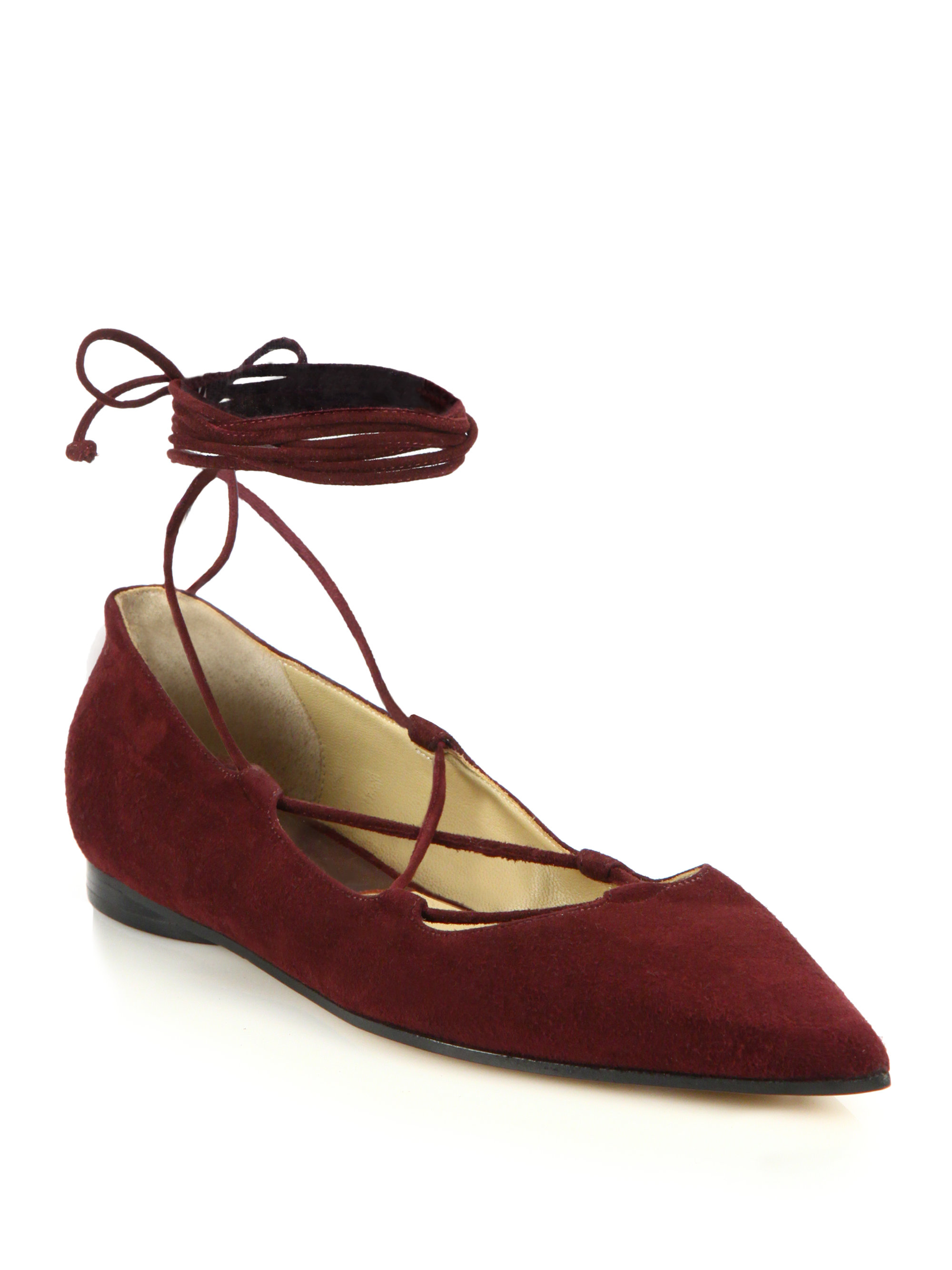 28177cc28 Michael Kors Kallie Runway Suede Lace-up Flats in Red - Lyst
