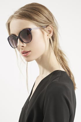 Preppy Sunglasses  top lucie preppy round sunglasses in blue lyst