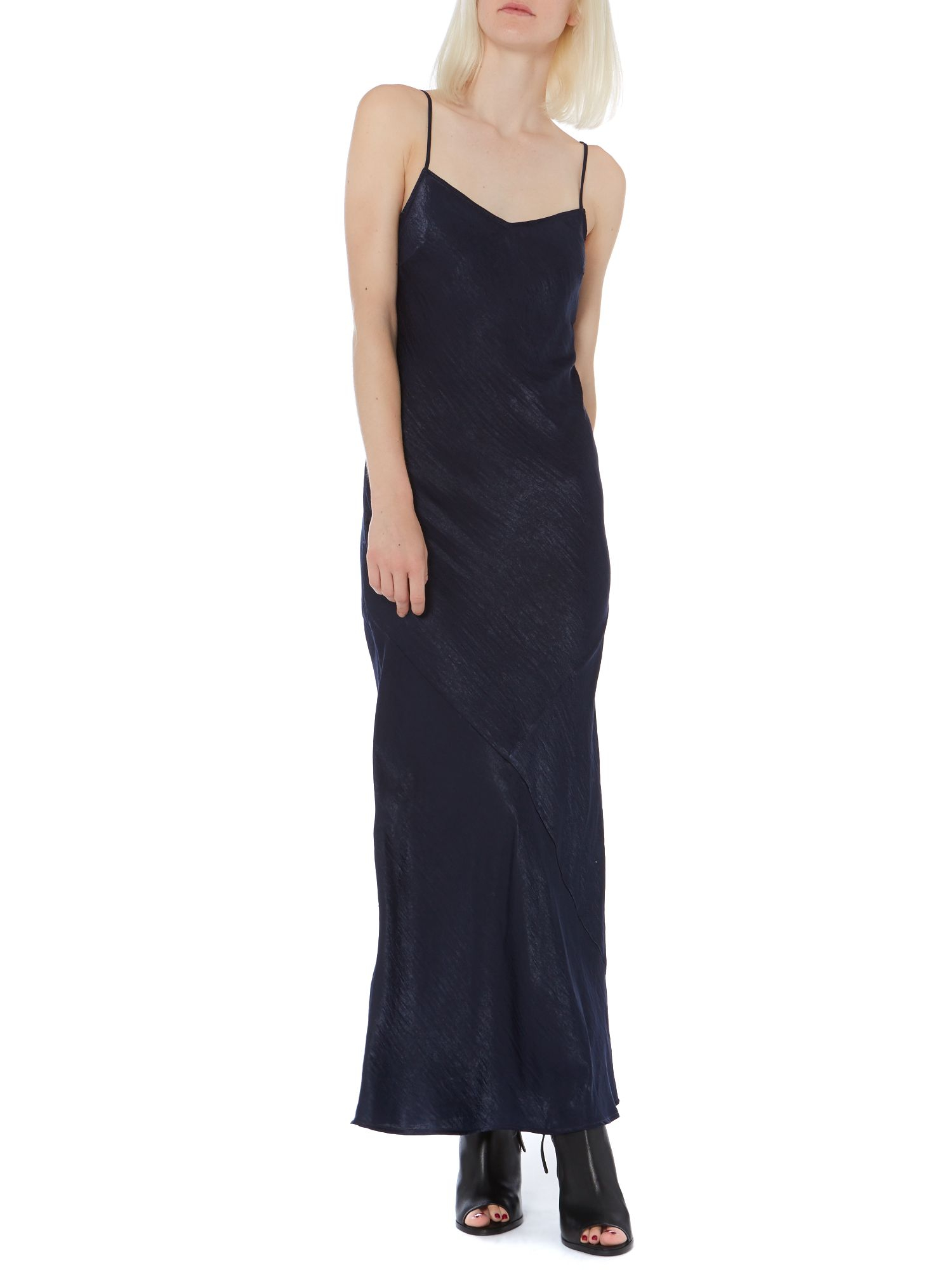 Label Lab Hammered Satin Maxi Slip Dress In Blue Lyst