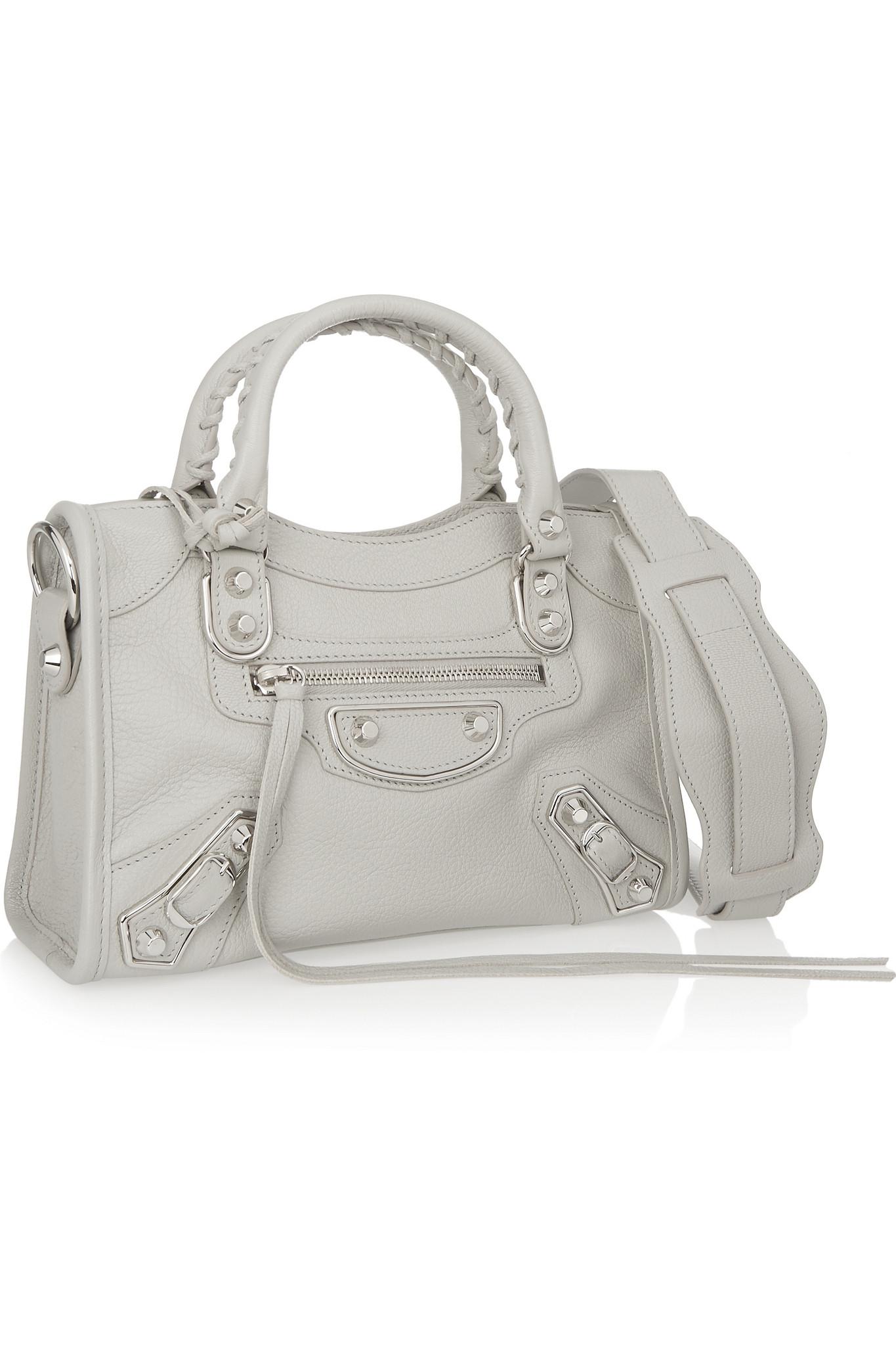 8a86fe235048 Lyst - Balenciaga Classic Metallic Edge City Mini Textured-leather ...
