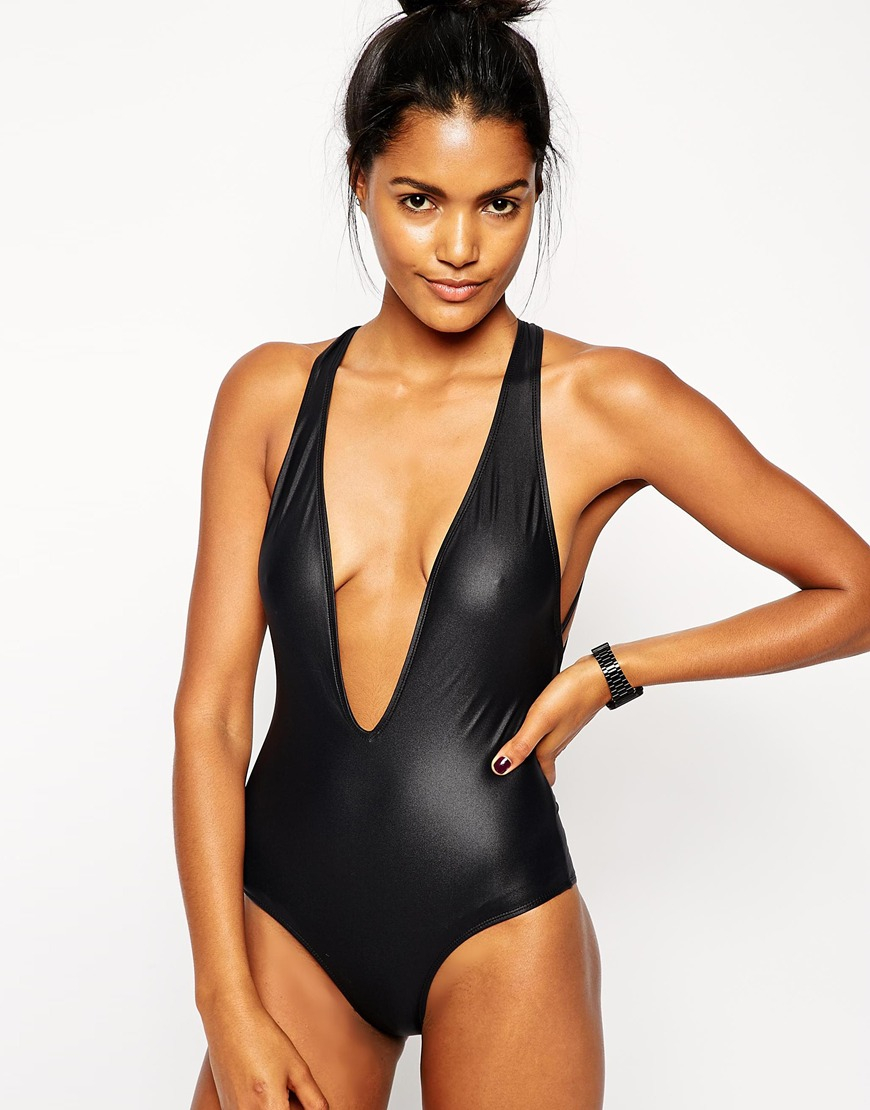Asos Wetlook Strappy Back Swimsuit In Black Lyst
