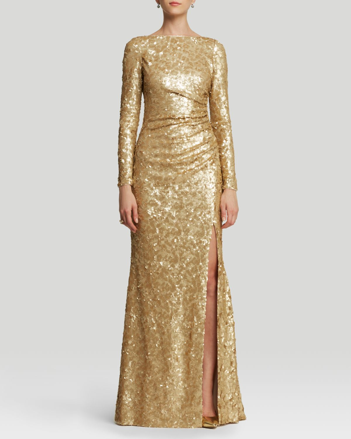 Lyst - Badgley Mischka Gown - Sequin in Metallic