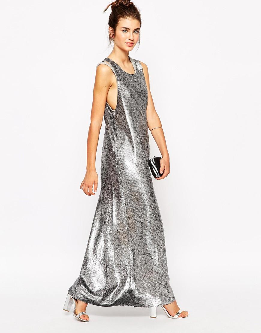 Silver jersey maxi dress
