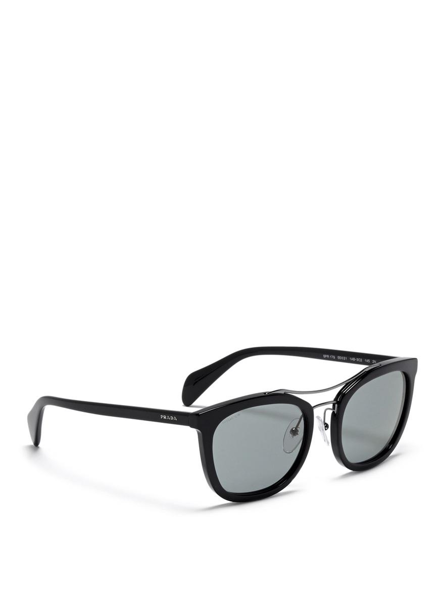 30811bb47aa4e Prada  luxottica  Double Bridge Square Sunglasses in Black for Men ...