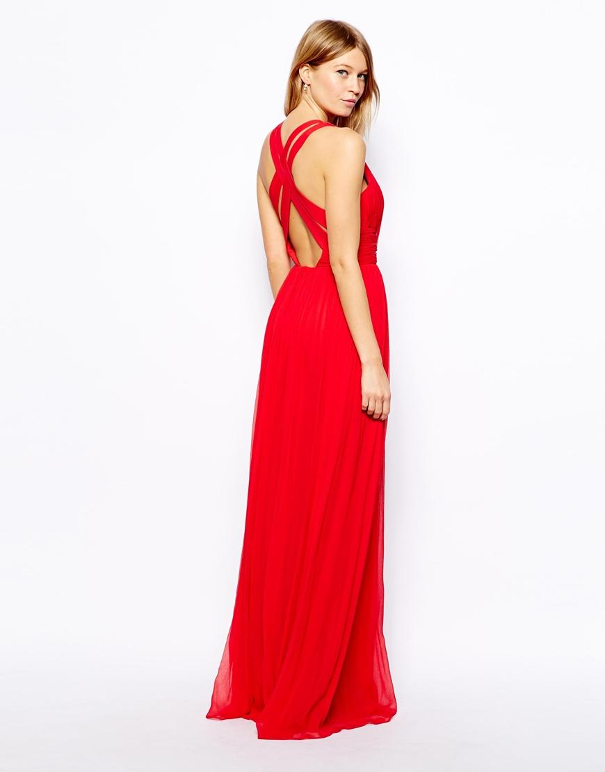 Mango Cross Back Maxi Dress in Red - Lyst