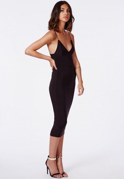 002cfb880b0 Missguided Elodia Slinky Strappy Midi Dress Black in Black - Lyst