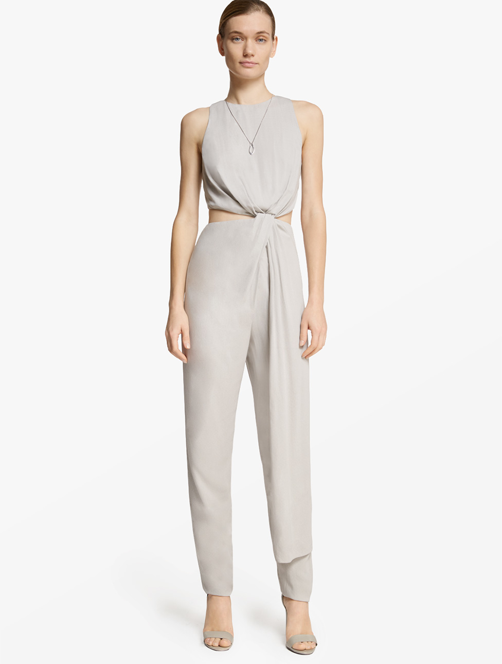 Halston Open Back Crepe Jumpsuit in White
