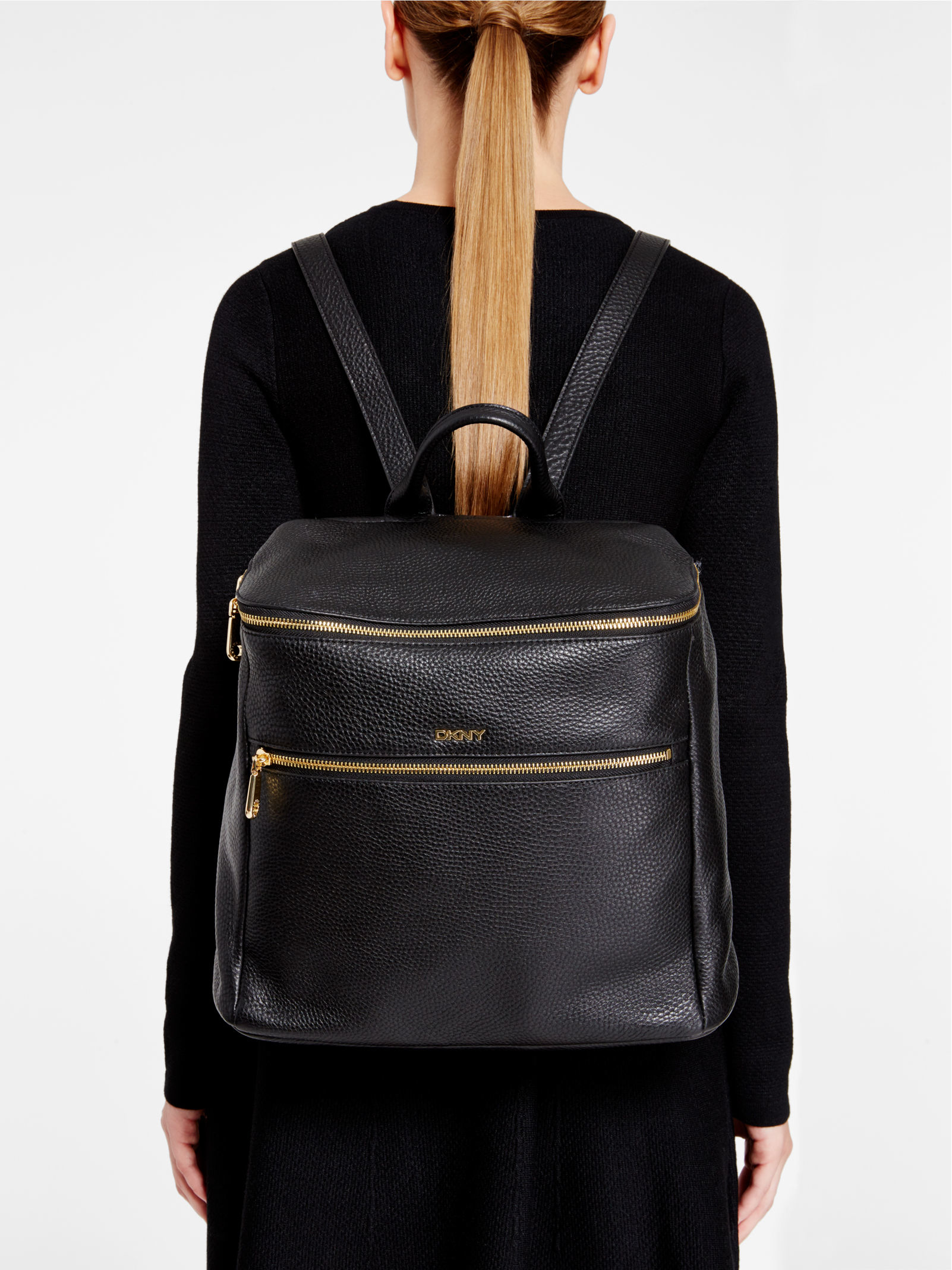 Dkny Tumbled Leather Backpack in Black | Lyst : dkny quilted rucksack - Adamdwight.com