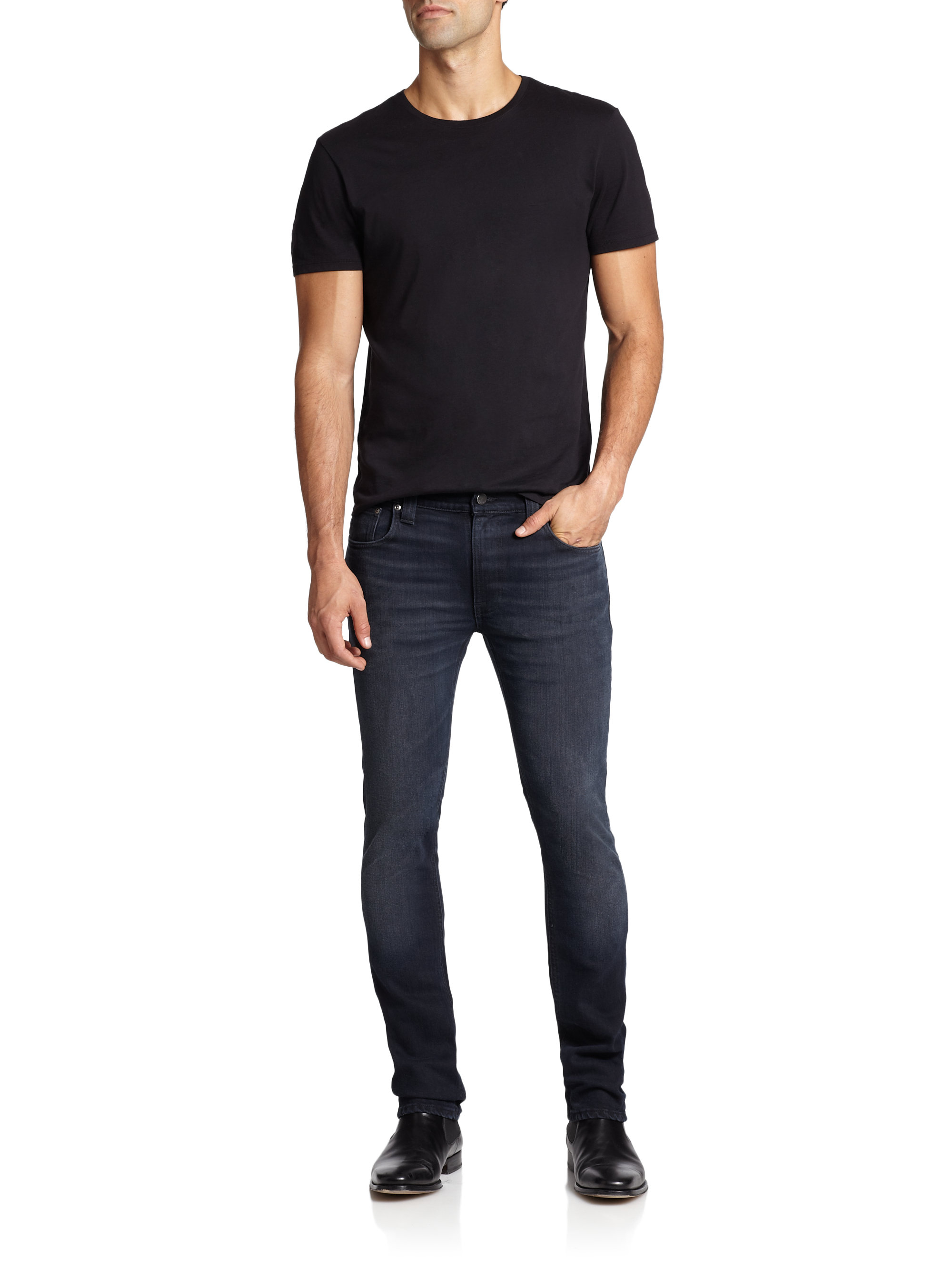 lyst nudie jeans thin finn slim straight leg jeans in. Black Bedroom Furniture Sets. Home Design Ideas