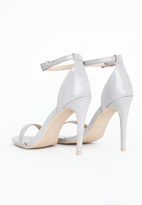 Missguided Clara Grey Strappy Heeled Sandals in Gray | Lyst