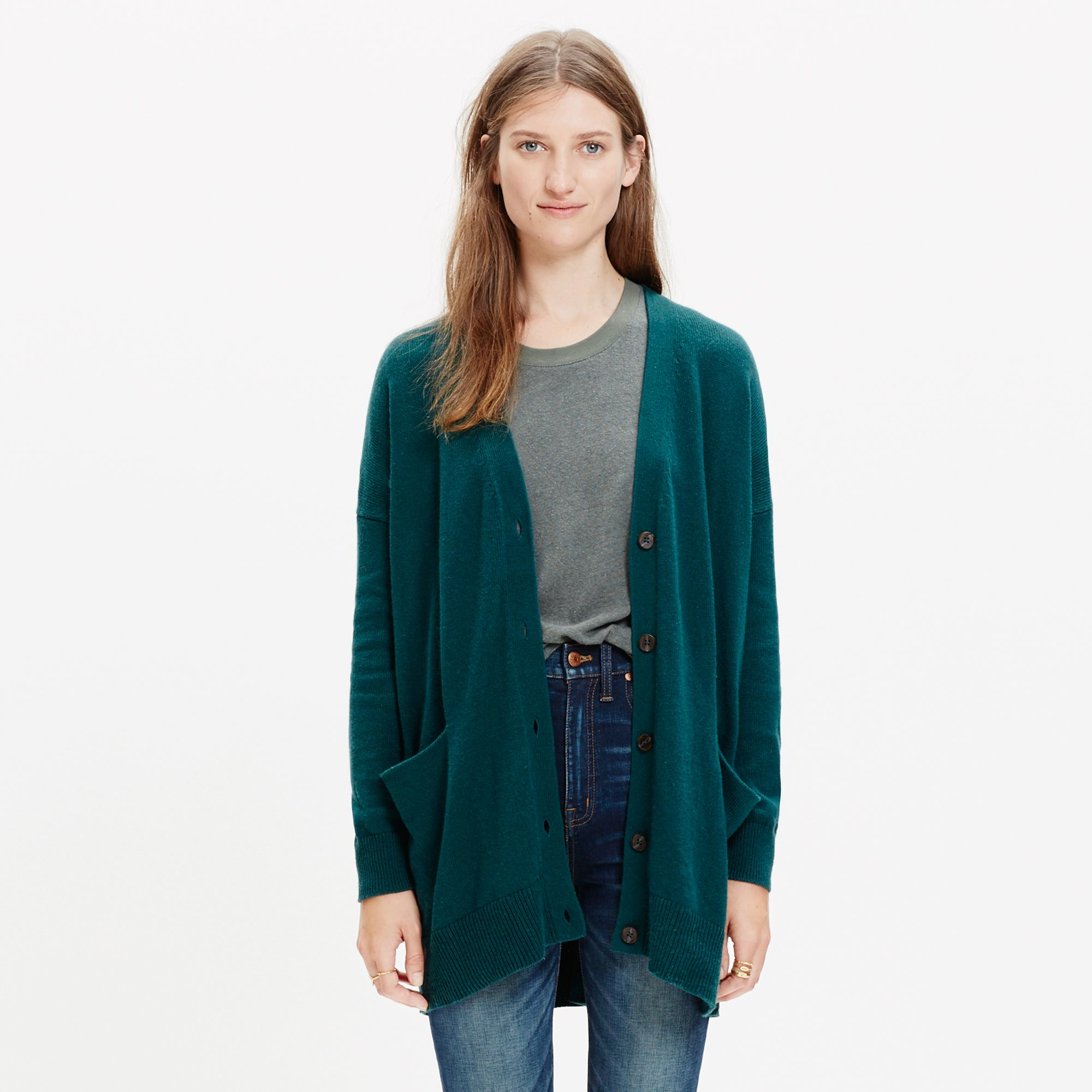 Madewell Long Cardigan Sweater in Green | Lyst