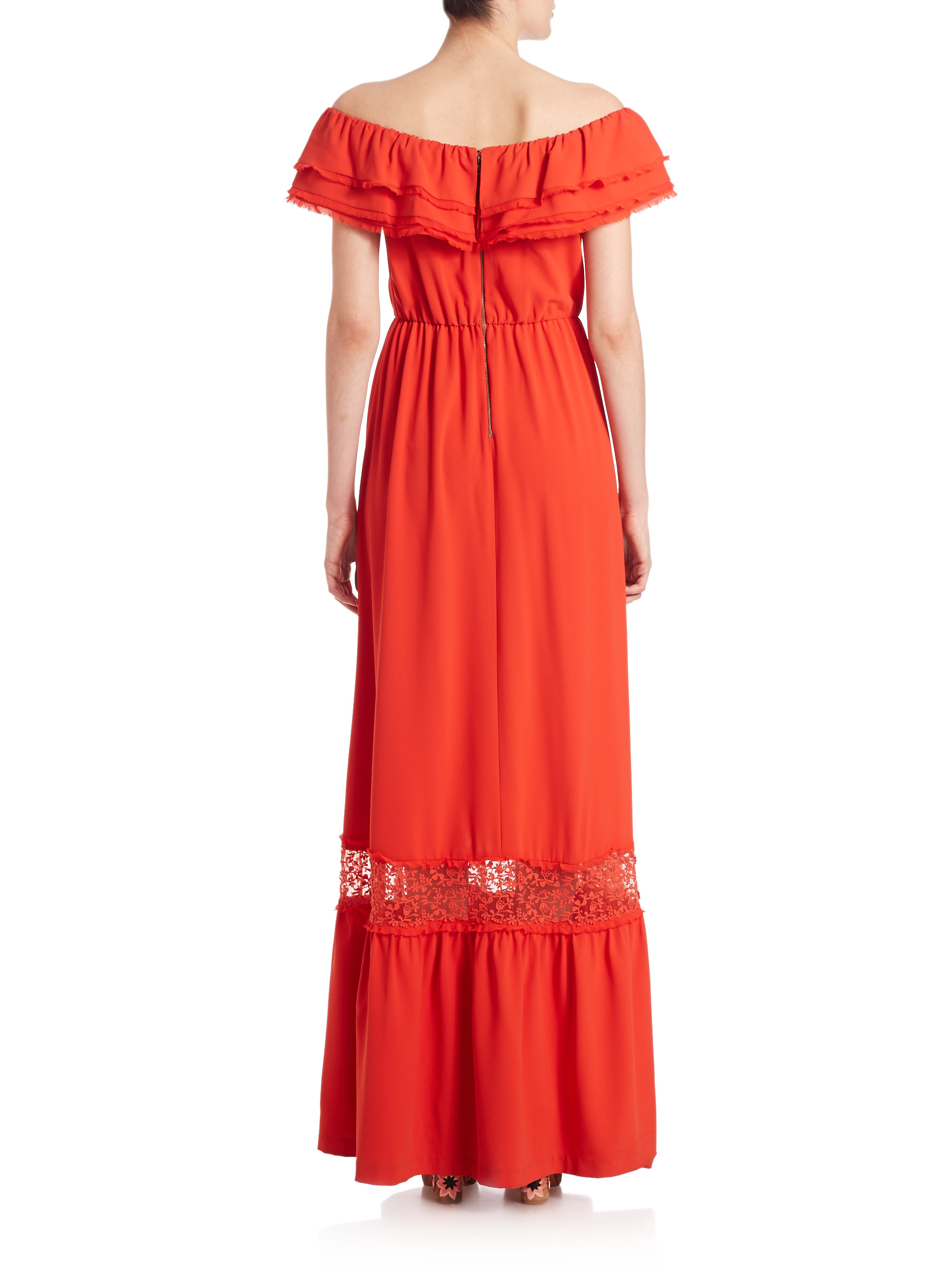 Lyst - Alice + Olivia Cheri Off-the-shoulder Ruffled Maxi Dress in Red f9786735c2