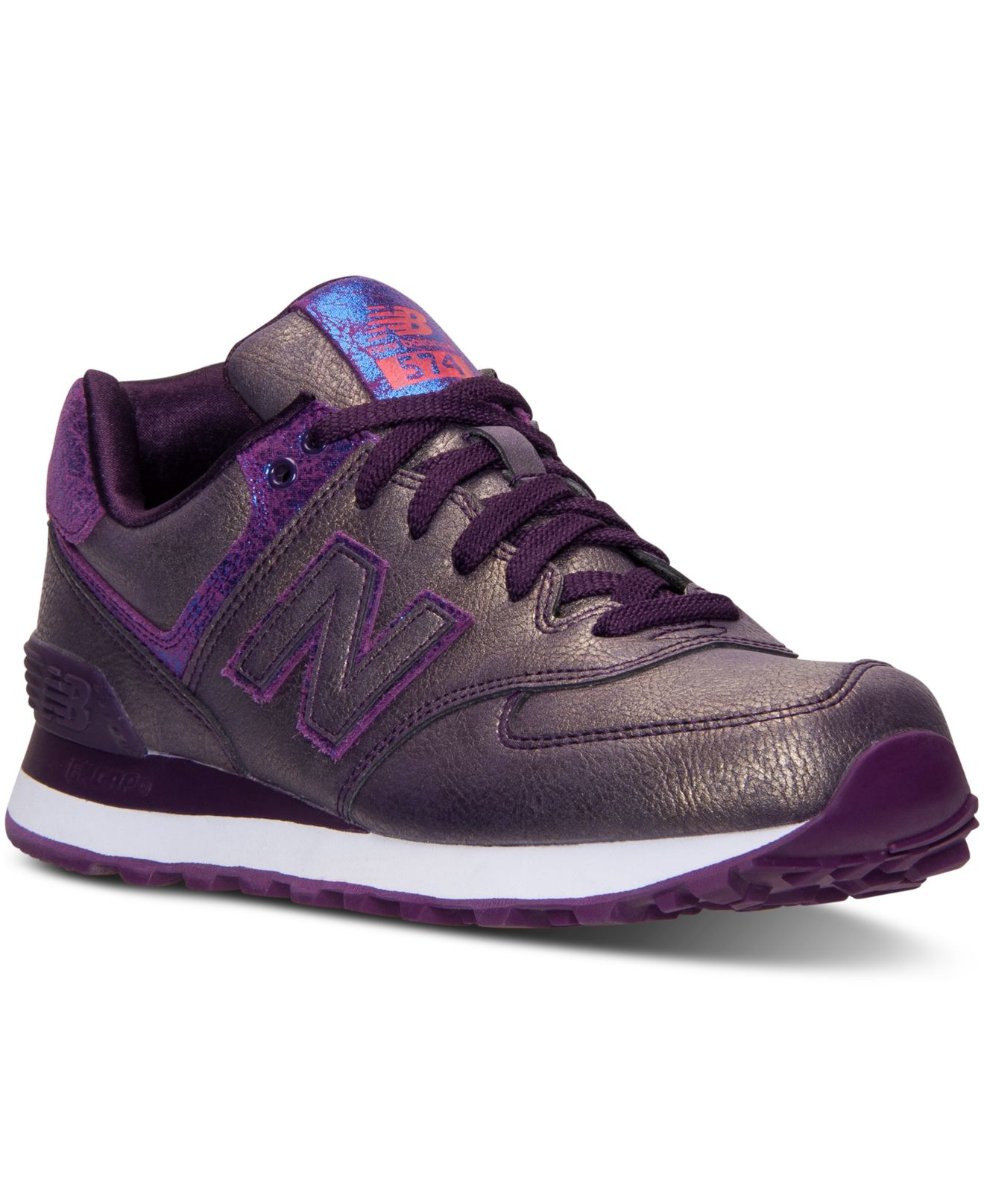 lyst new balance women 39 s 574 mineral glow casual sneakers from finish line in purple. Black Bedroom Furniture Sets. Home Design Ideas