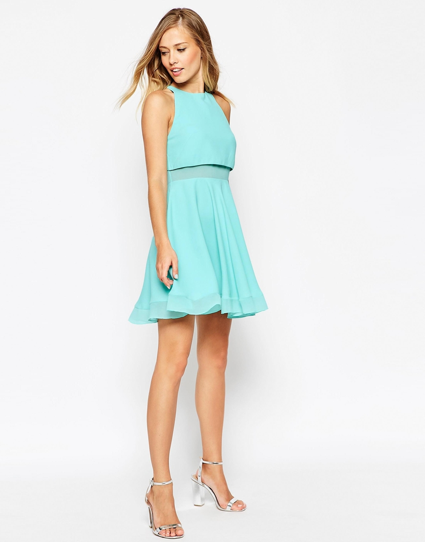 Lyst - Asos Sheer And Solid Skater Dress in Blue