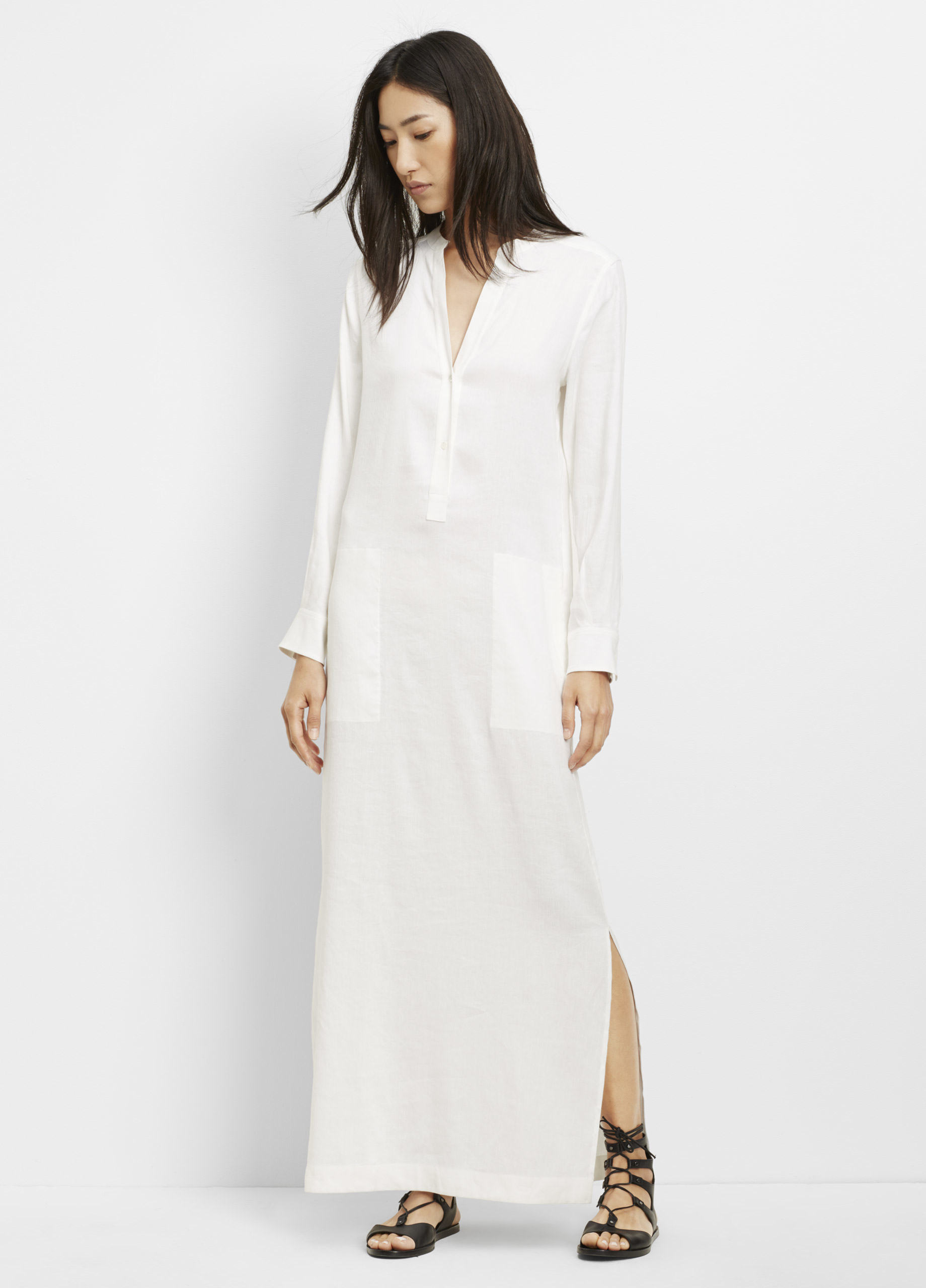 Lyst Vince Linen Maxi Dress In White
