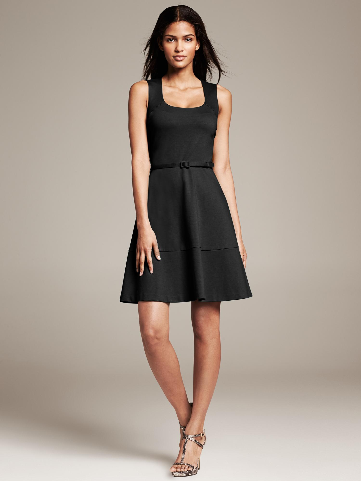 Banana Republic Belted Ponte Fit And Flare Dress In Black