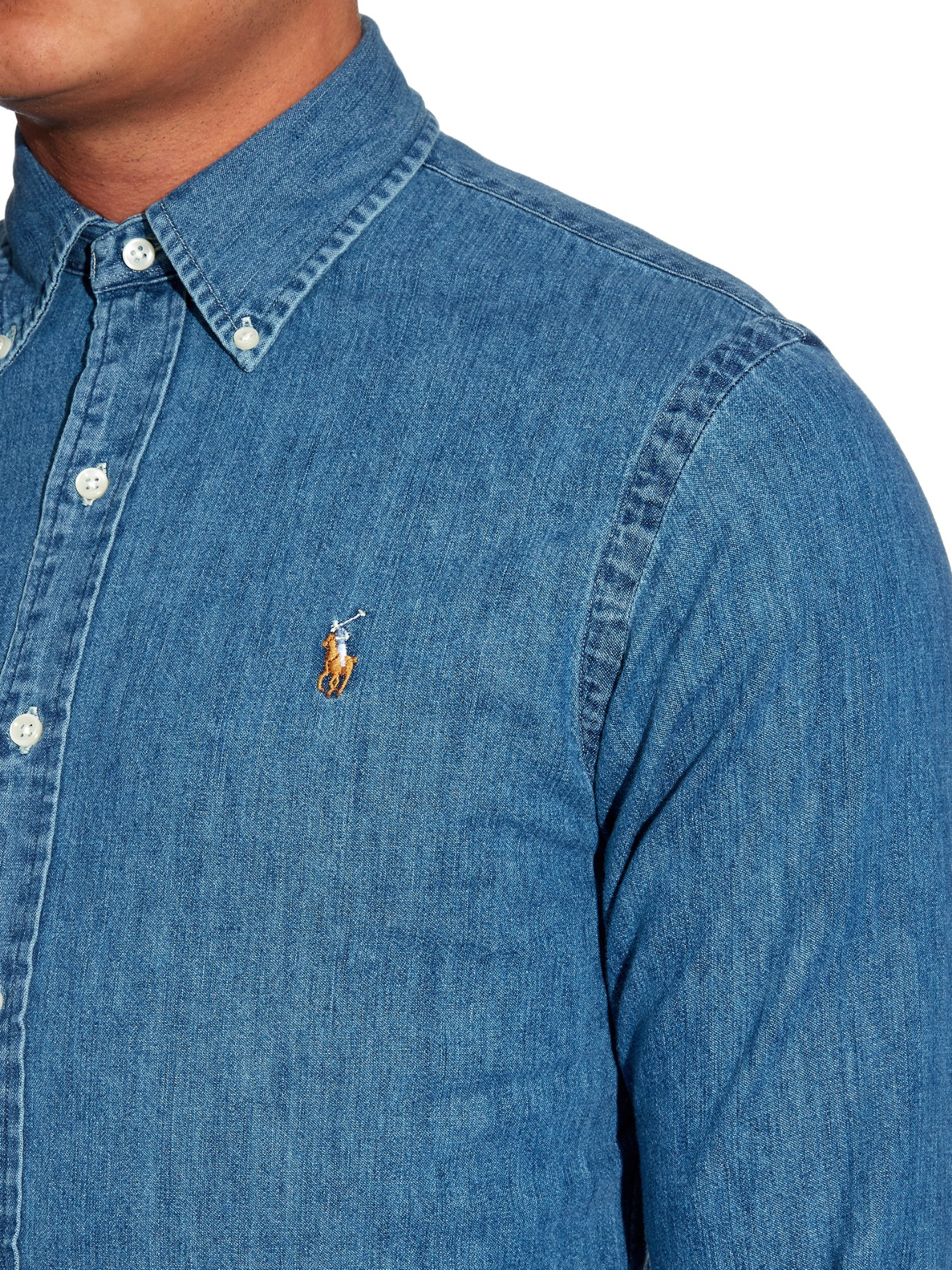 e667a444 ... italy polo ralph lauren chambray shirt slim fit f1c01 c56b5