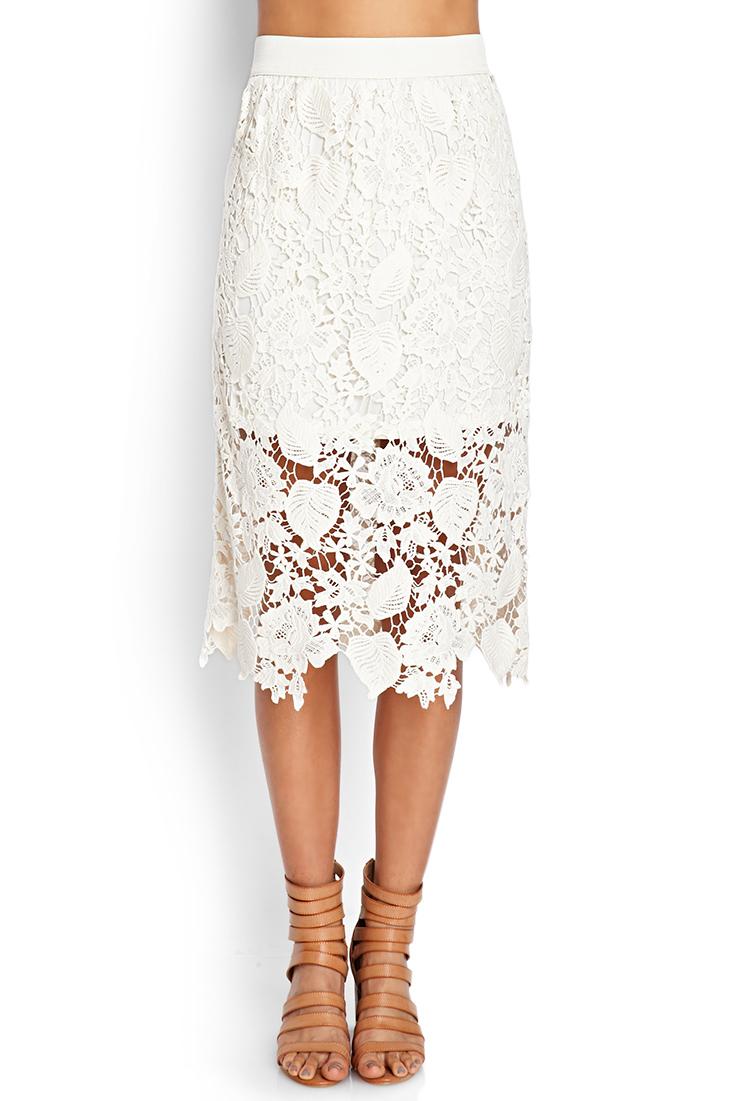21 crochet lace midi skirt in white lyst