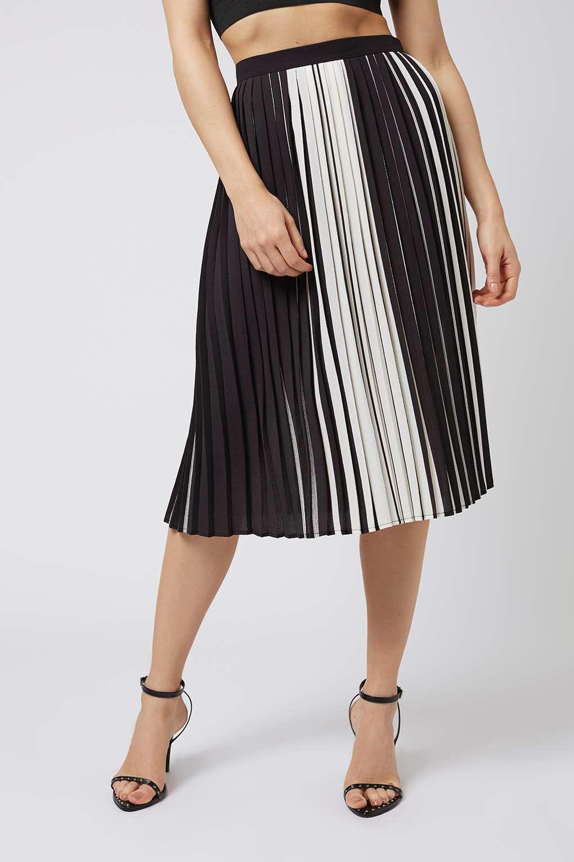 topshop monochome stripe pleated midi in black lyst