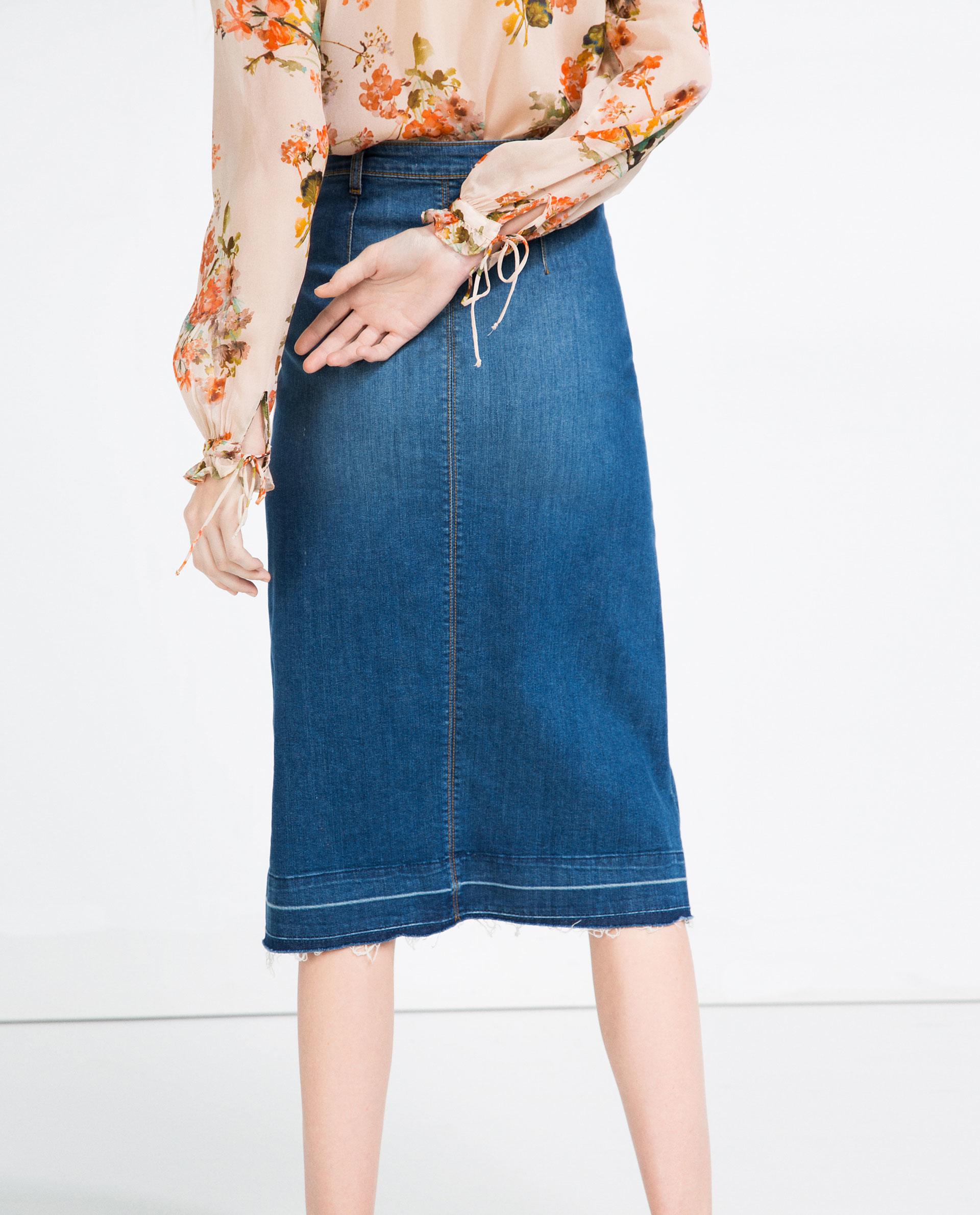 Zara Buttoned Mid-length Denim Skirt in Blue | Lyst