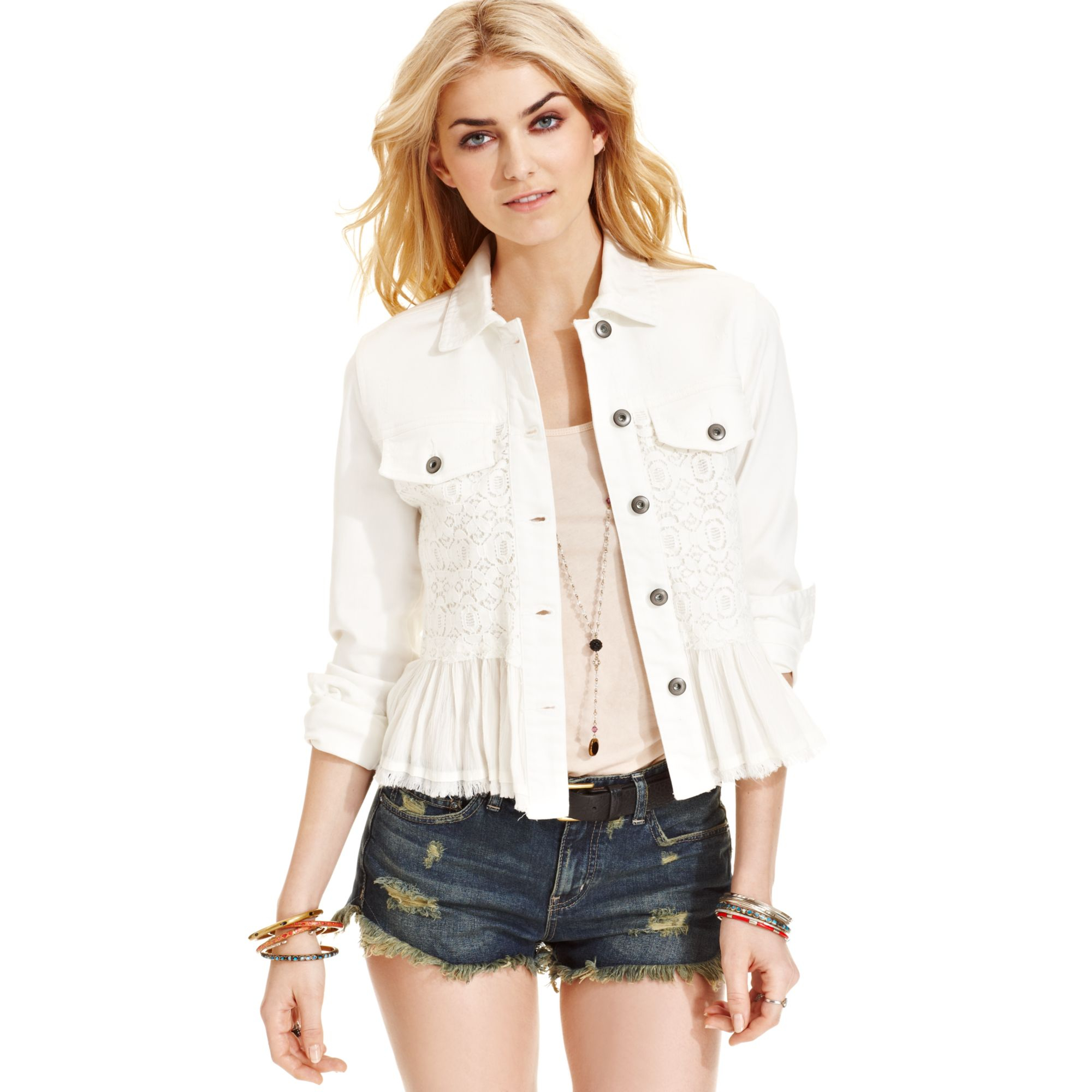 Free People Lace Ruffle Jacket In White Lyst