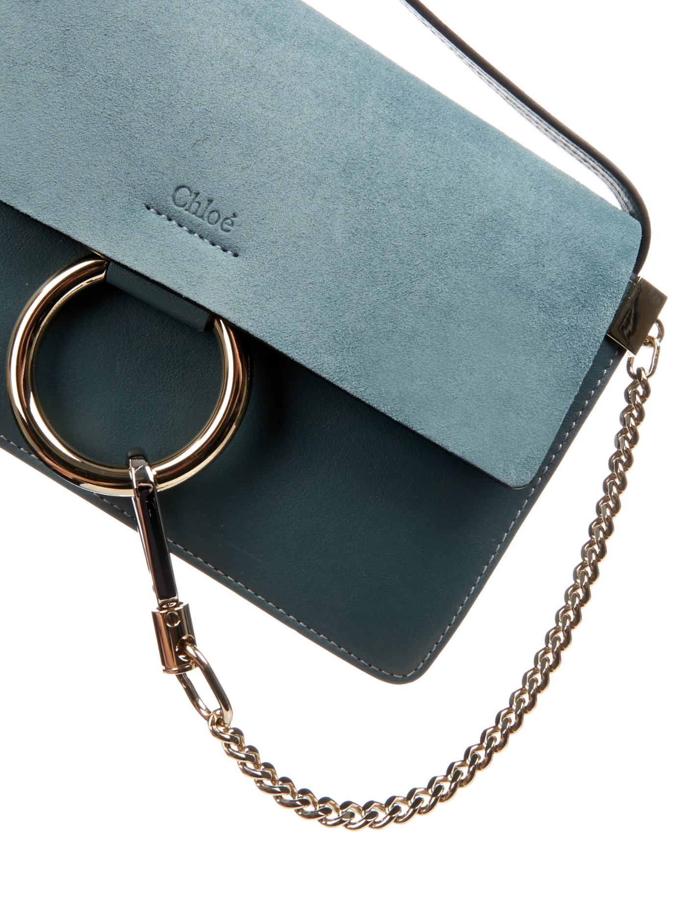 7cf4d757963a6 Chloé Faye Leather and Suede Cross-Body Bag in Blue - Lyst