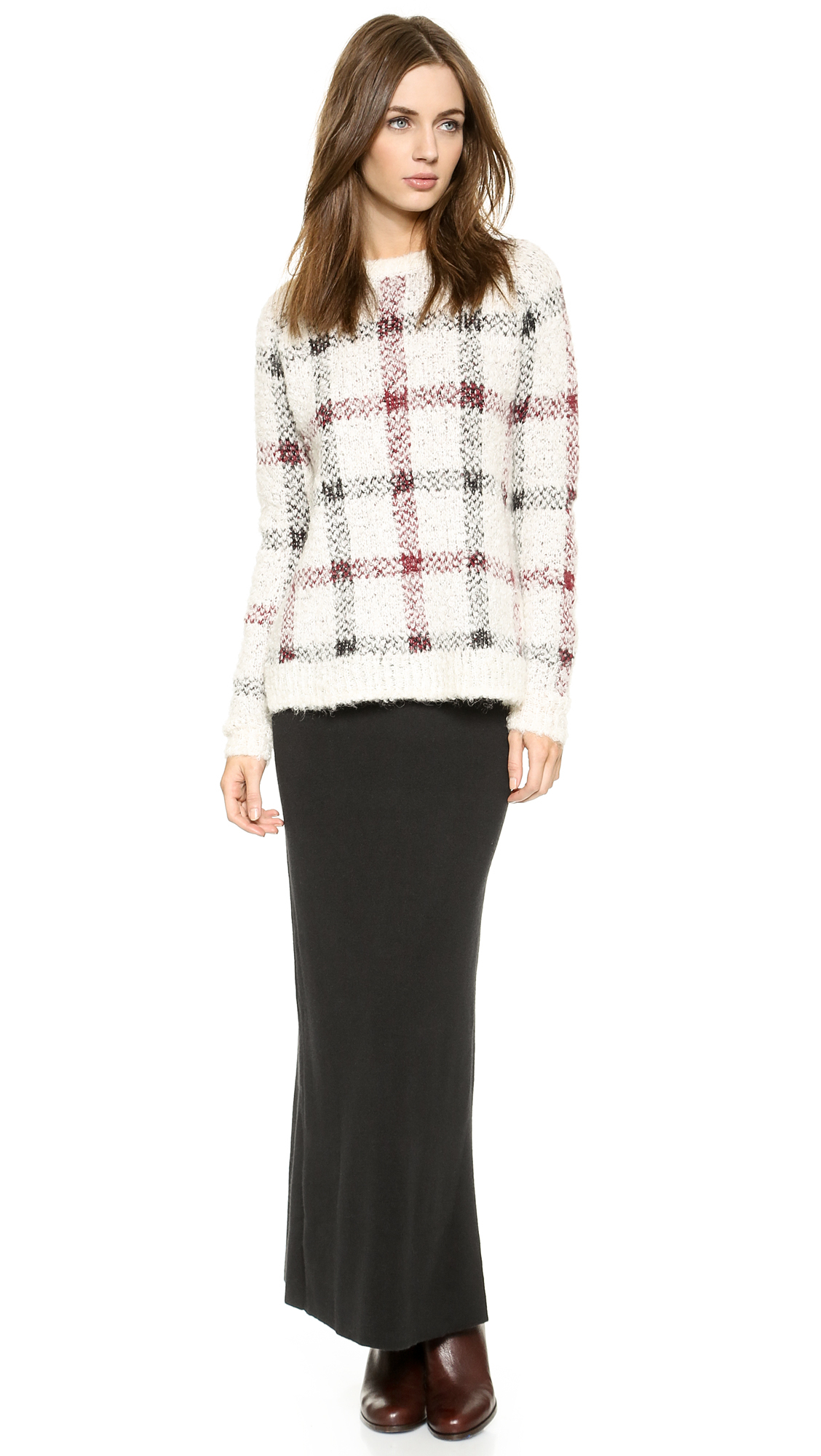 670ca6226cc Theory Innis Knit Plaid Pullover Sweater in Black