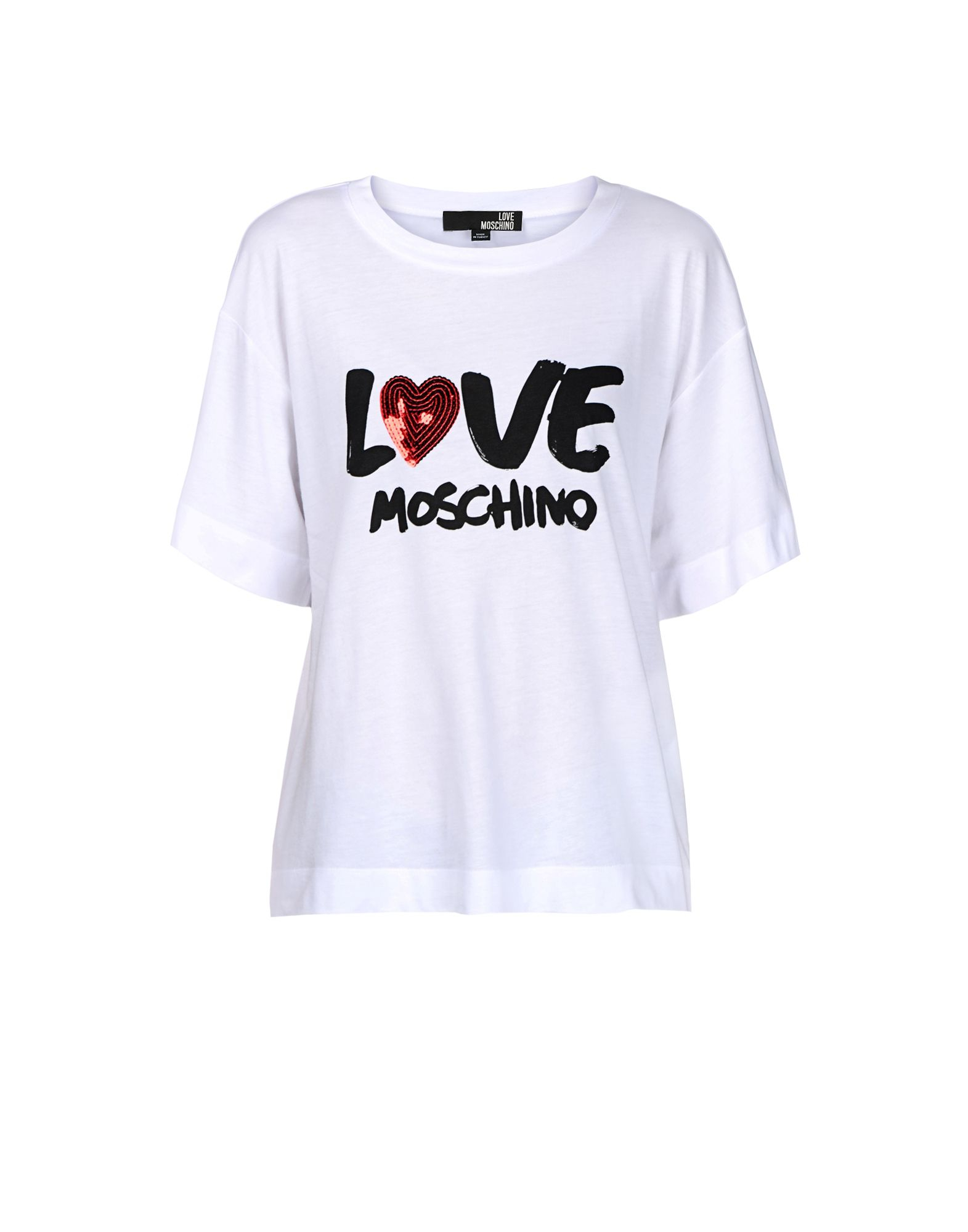 lyst love moschino short sleeve t shirts in white. Black Bedroom Furniture Sets. Home Design Ideas