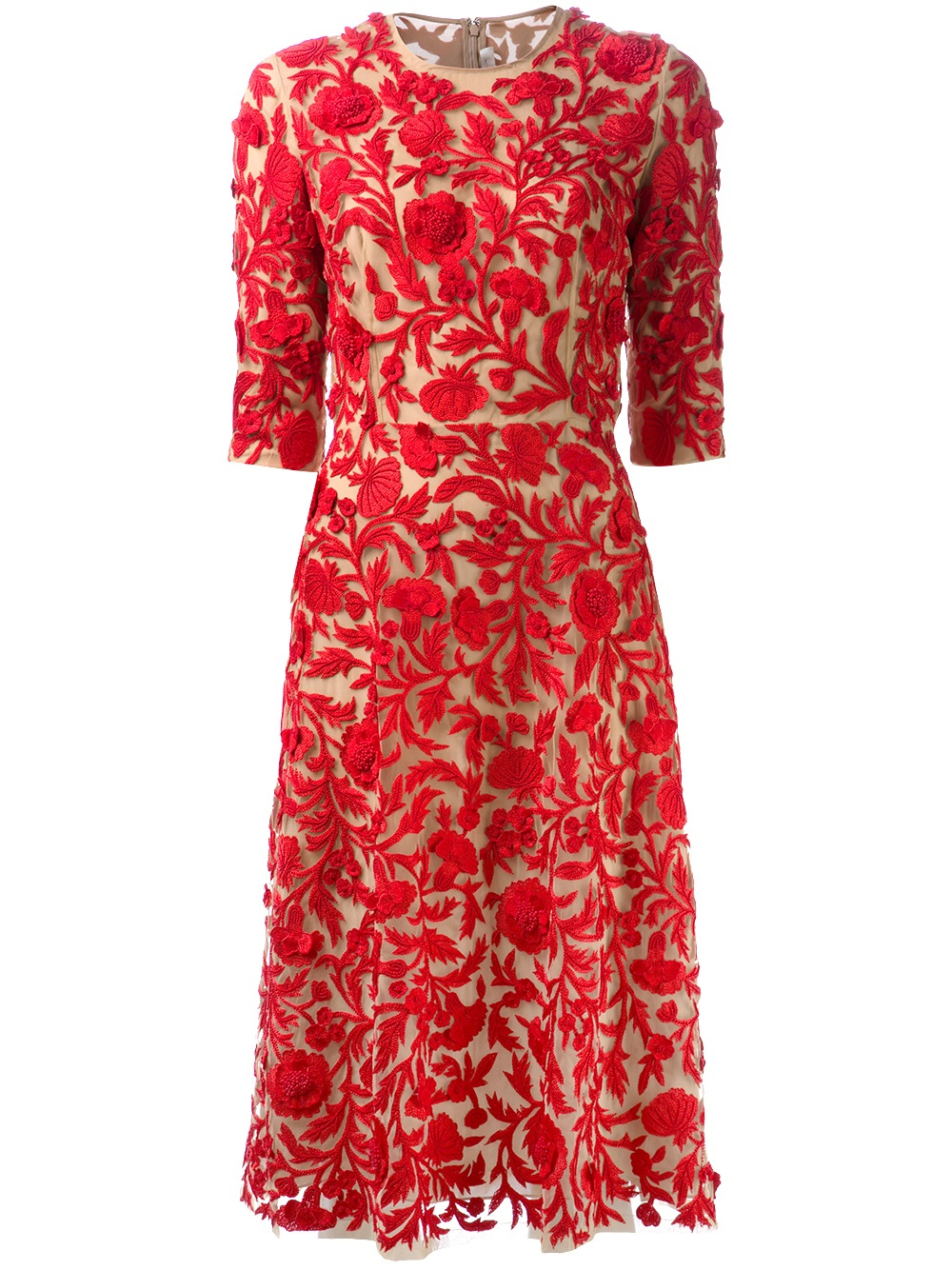 Naeem Khan Embroidered Floral Dress In Red Lyst